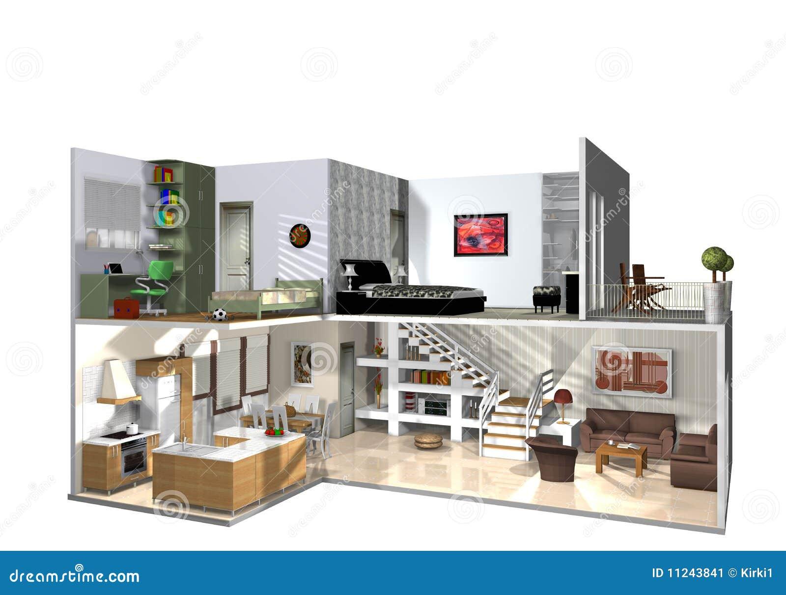 Una casa por completo de los muebles y decorativo stock de for Casa y muebles