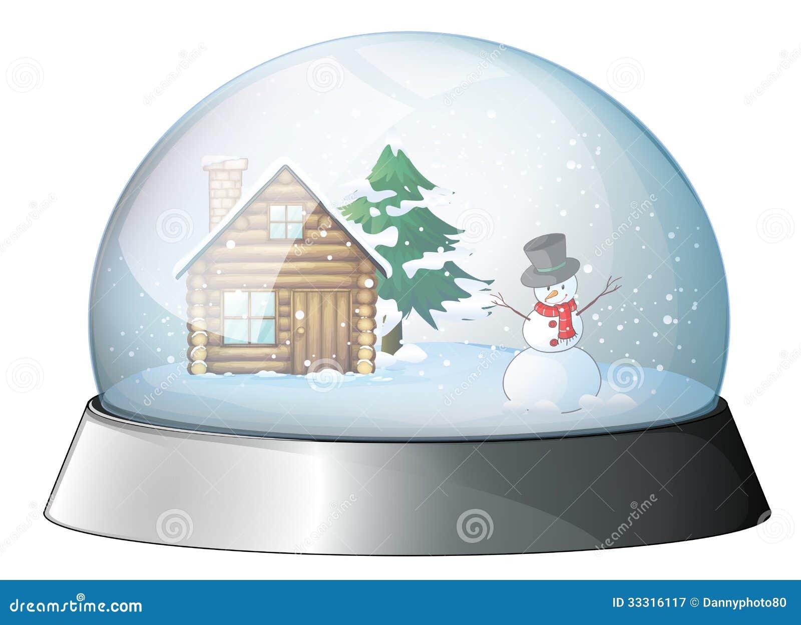 Una casa y un mu eco de nieve dentro de la bola de cristal - Bola nieve cristal ...