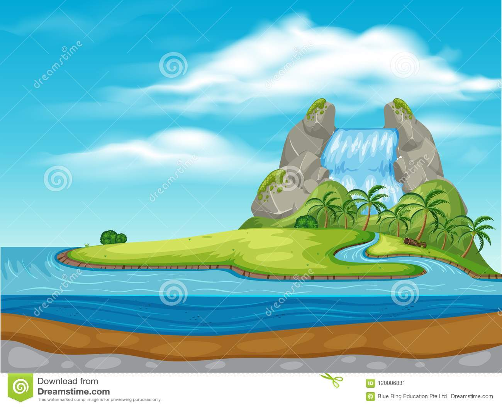 Una cascata sulla bella isola