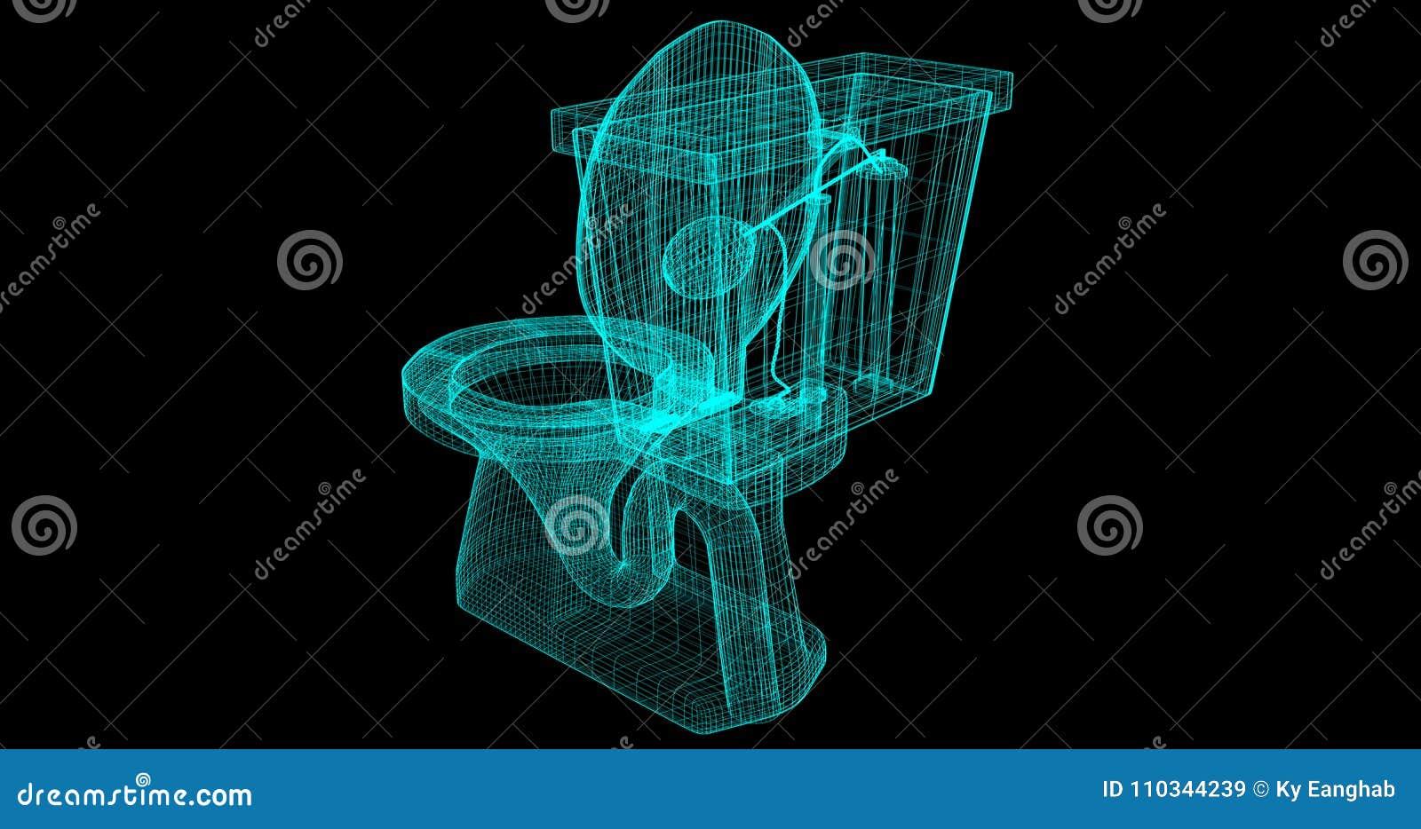 Una Cavo-struttura di una toilette, 3D reso con i miei propri progettazione