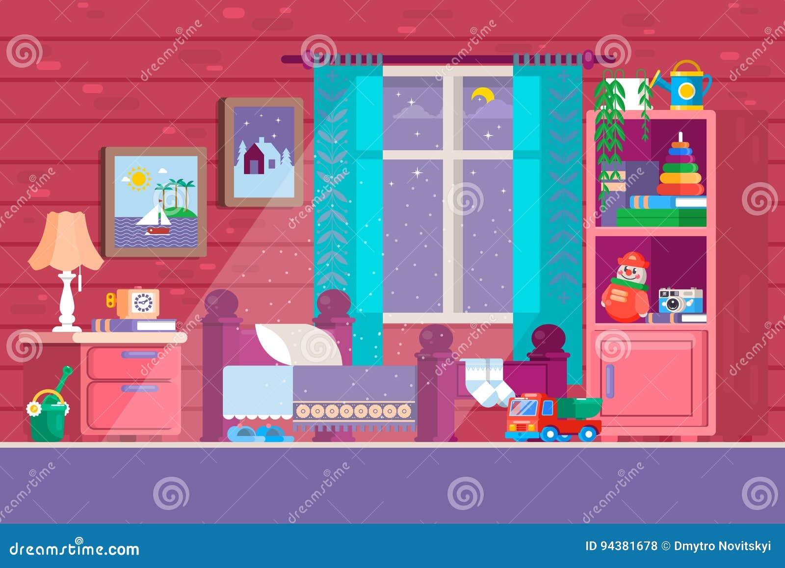 Una certa camera da letto del bambino illustrazione di una for Mobilia lavagna