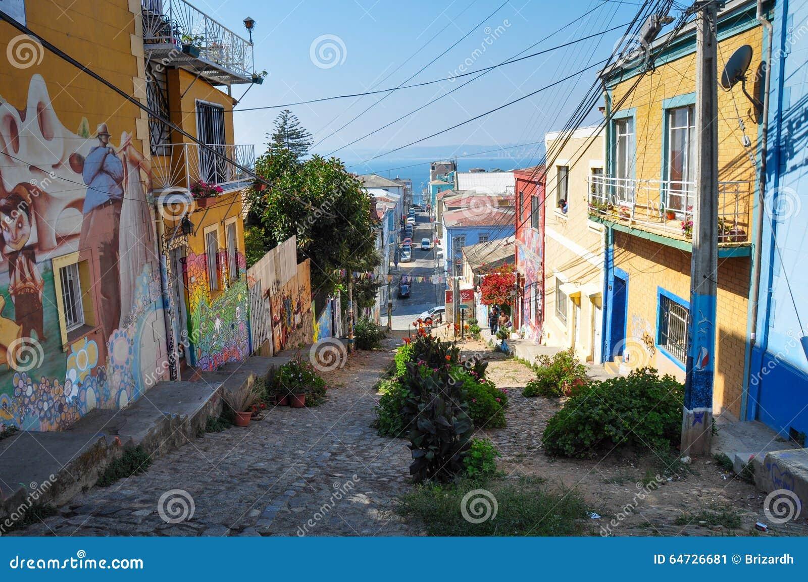 Una certa via stretta in Valparaiso, Cile