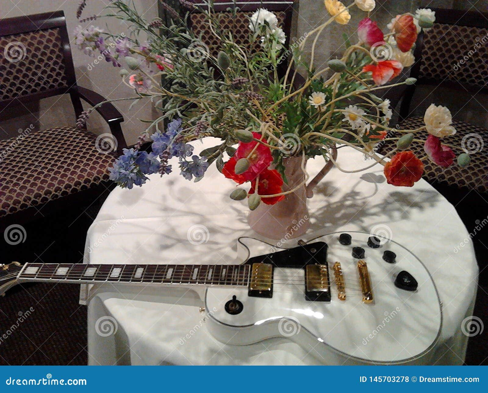 Una chitarra bianca