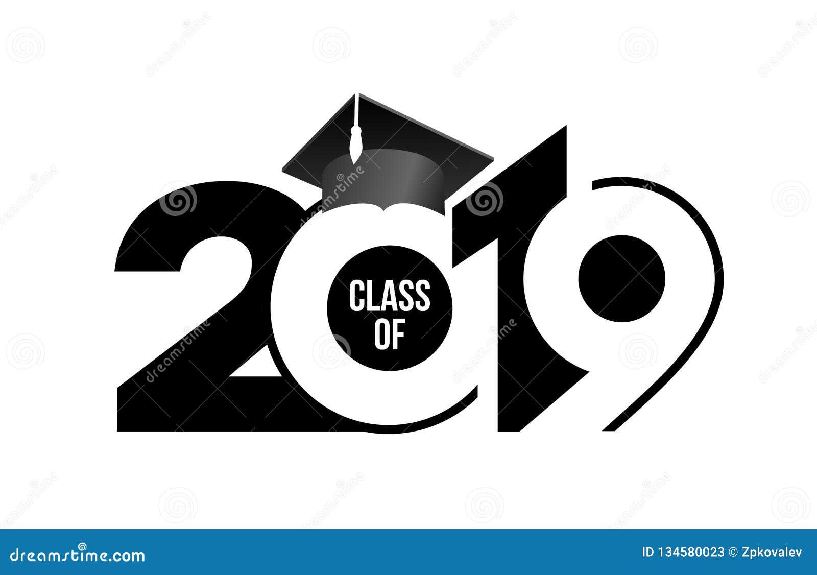 Una classe di 2019 con il cappuccio di graduazione Modello di progettazione del testo Illustrazione di vettore Isolato su priorit