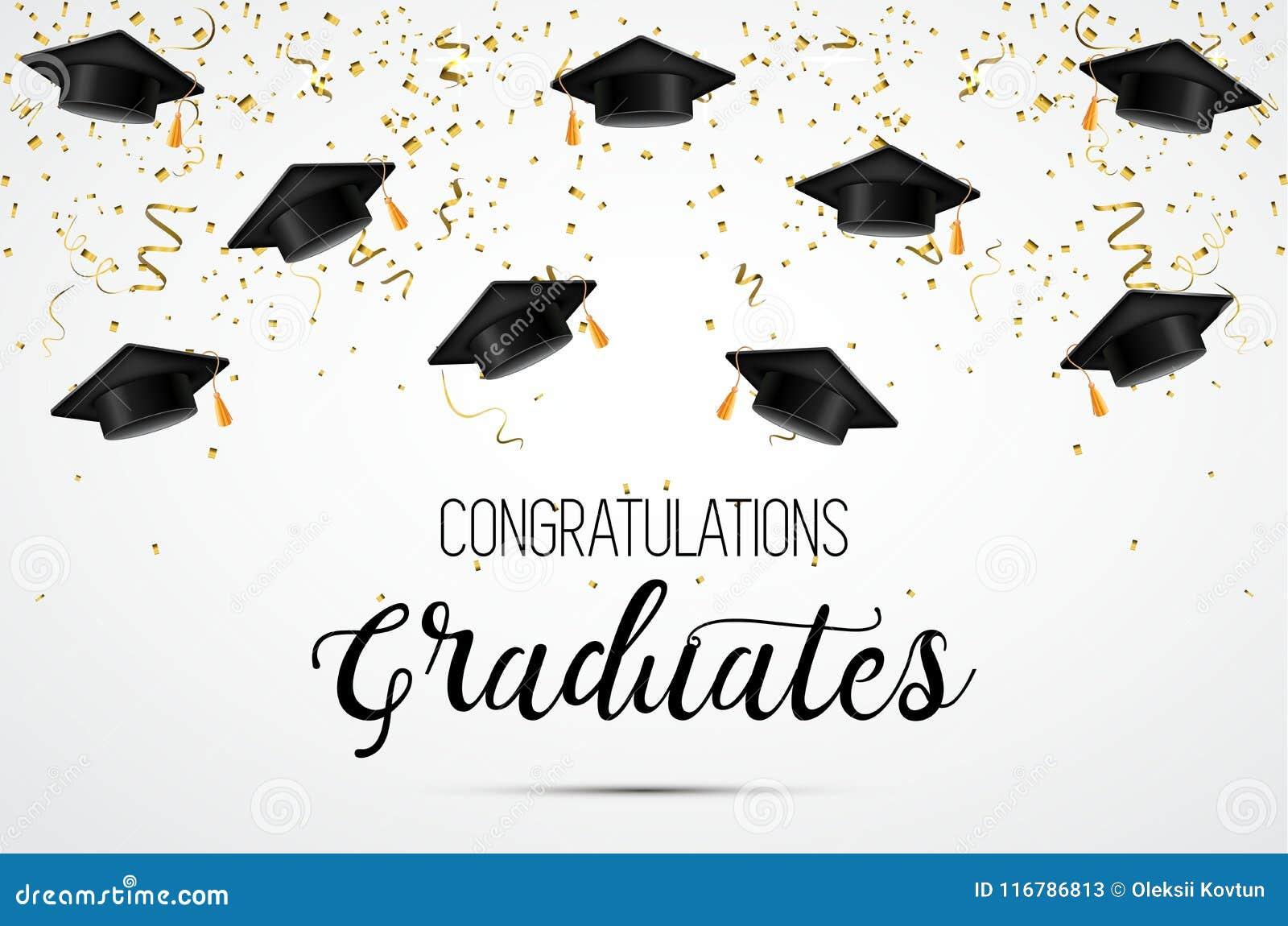 Una classe di graduazione di 2018 Laureati di congratulazioni Cappelli accademici, coriandoli e palloni celebrazione