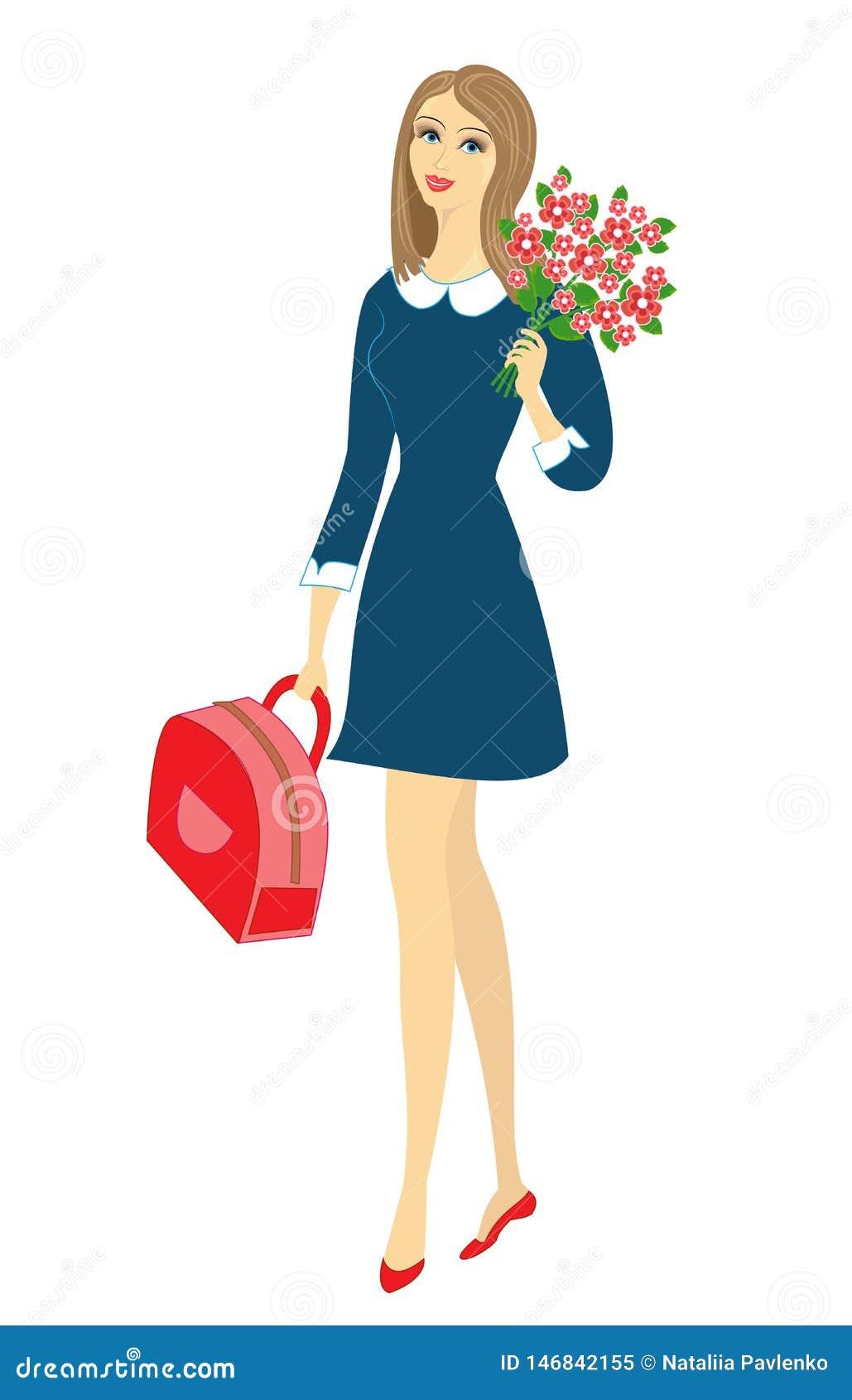 Una colegiala joven va a enseñar La muchacha es muy bonita, ella tiene un buen humor, una sonrisa La señora lleva un ramo de flor