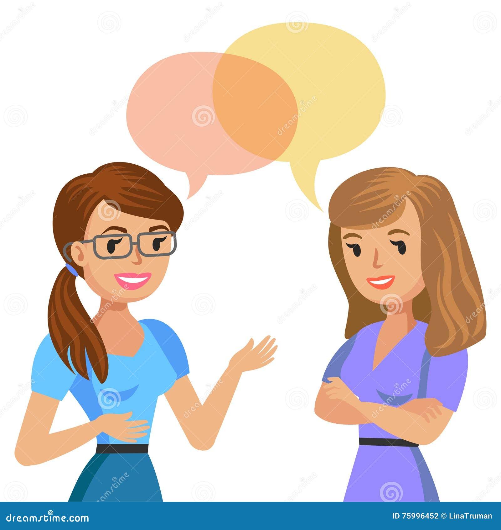Una conversazione delle due giovani donne Colleghi o amici di riunione Vettore