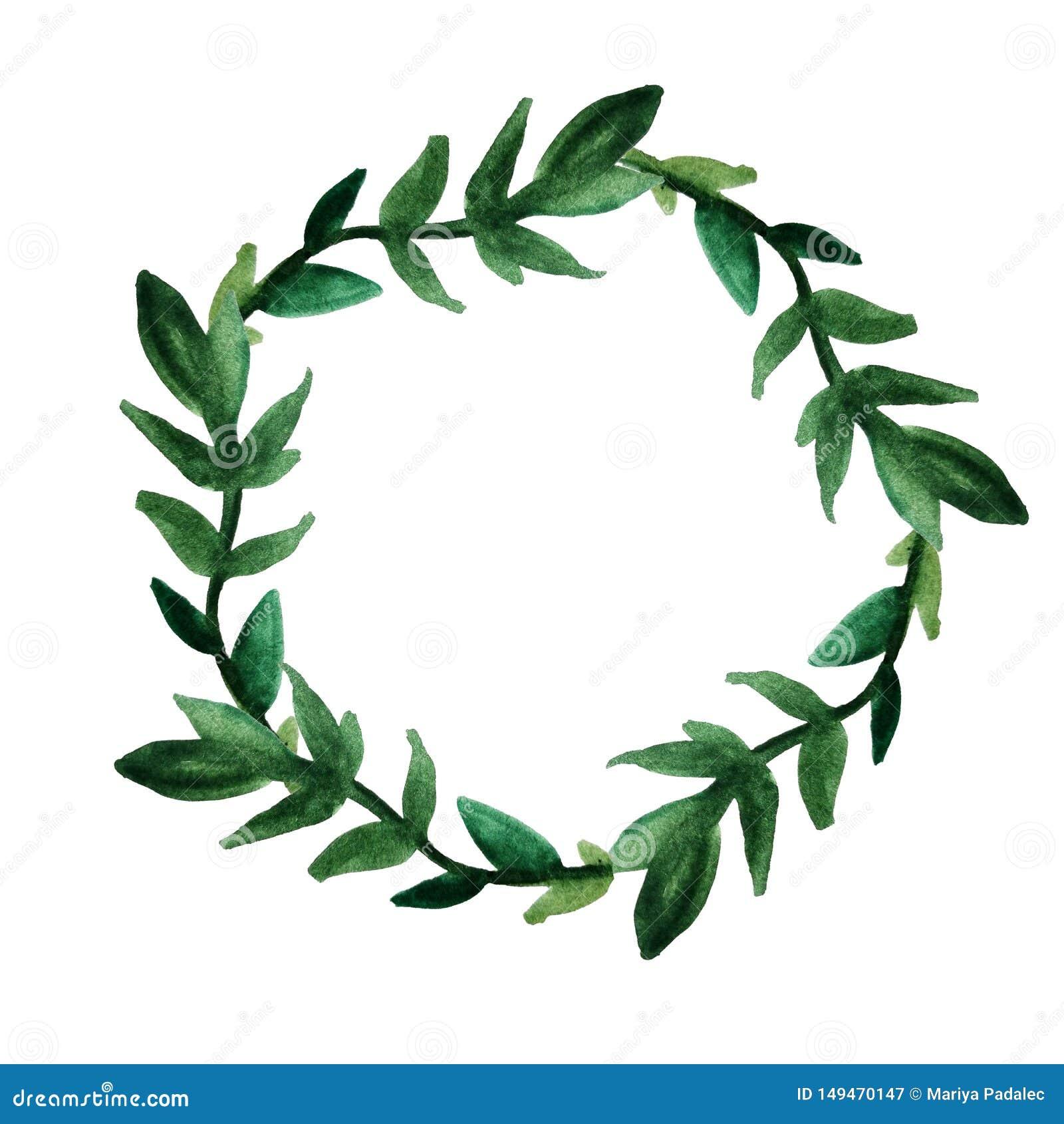 Una corona rotonda delle foglie verdi e dei ramoscelli Disegnato a mano in acquerello su un fondo bianco isolato Cartolina, festa