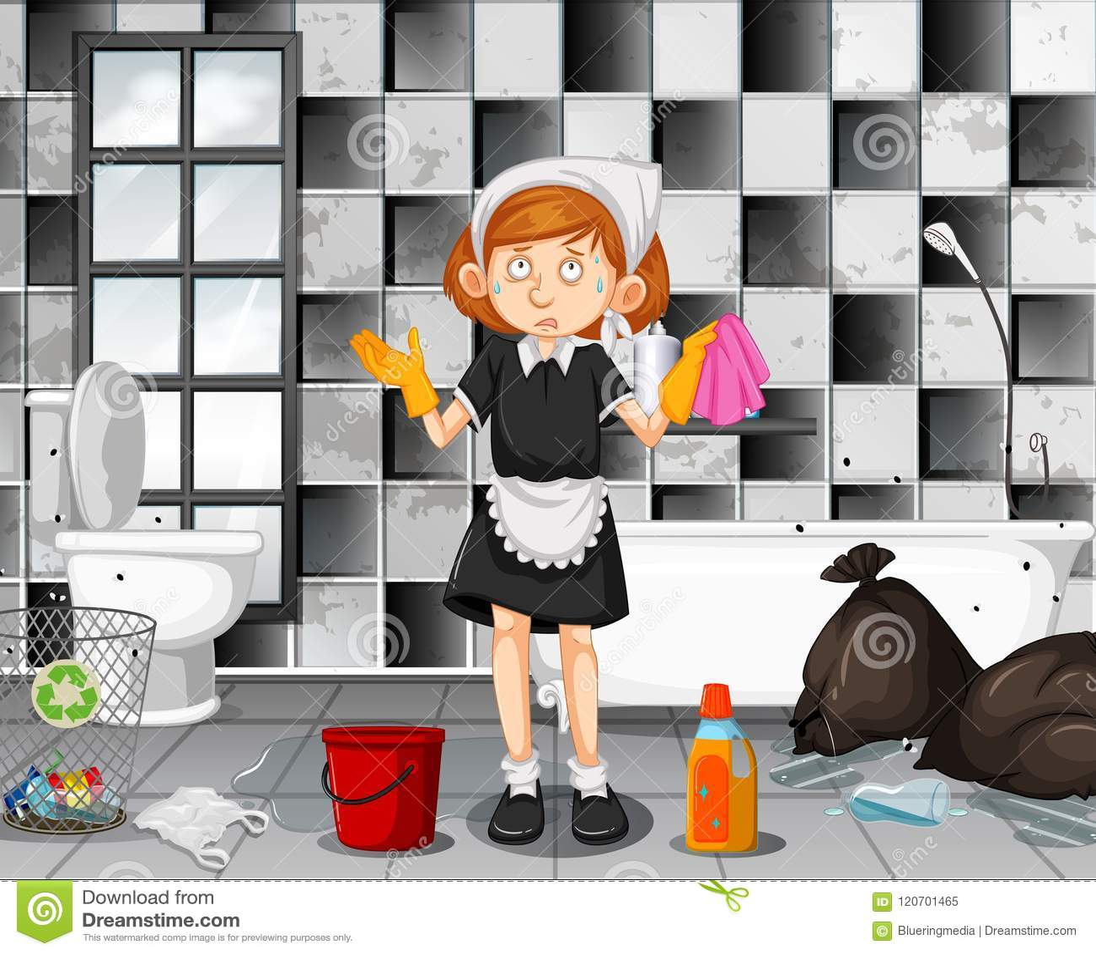 Una criada cansada Cleaning Bathroom