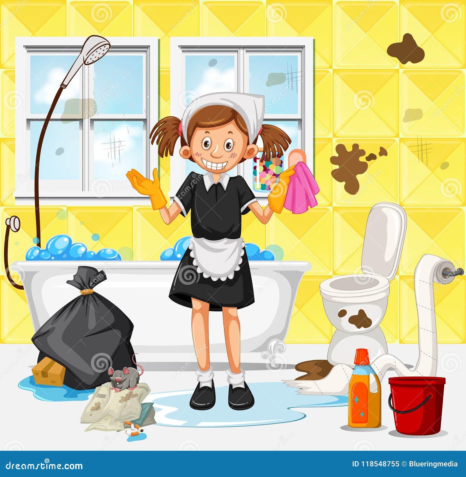 Una criada Cleaning Dirty Bathroom
