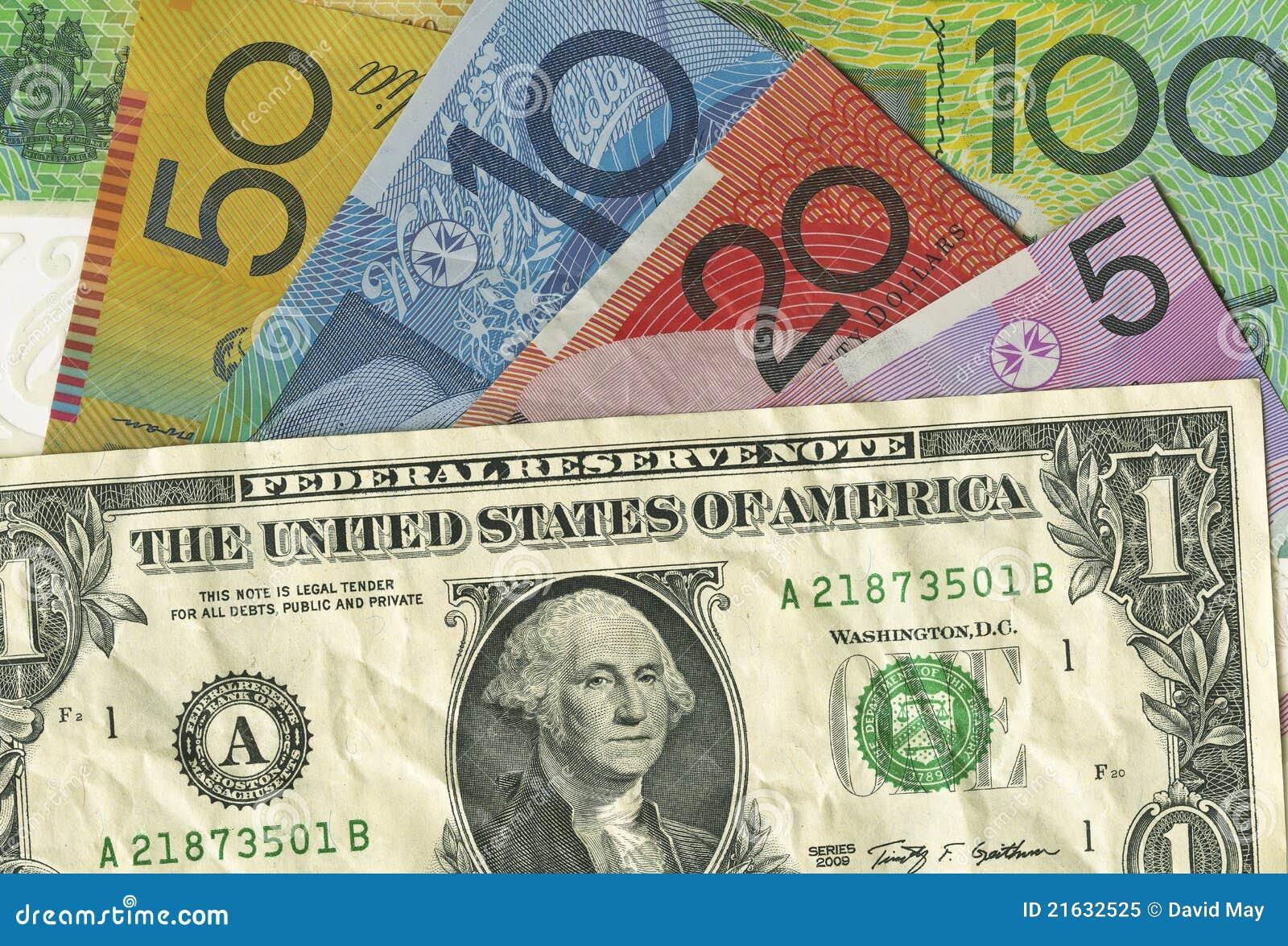 Una cuenta arrugada de dólar americano sobre el dinero australiano