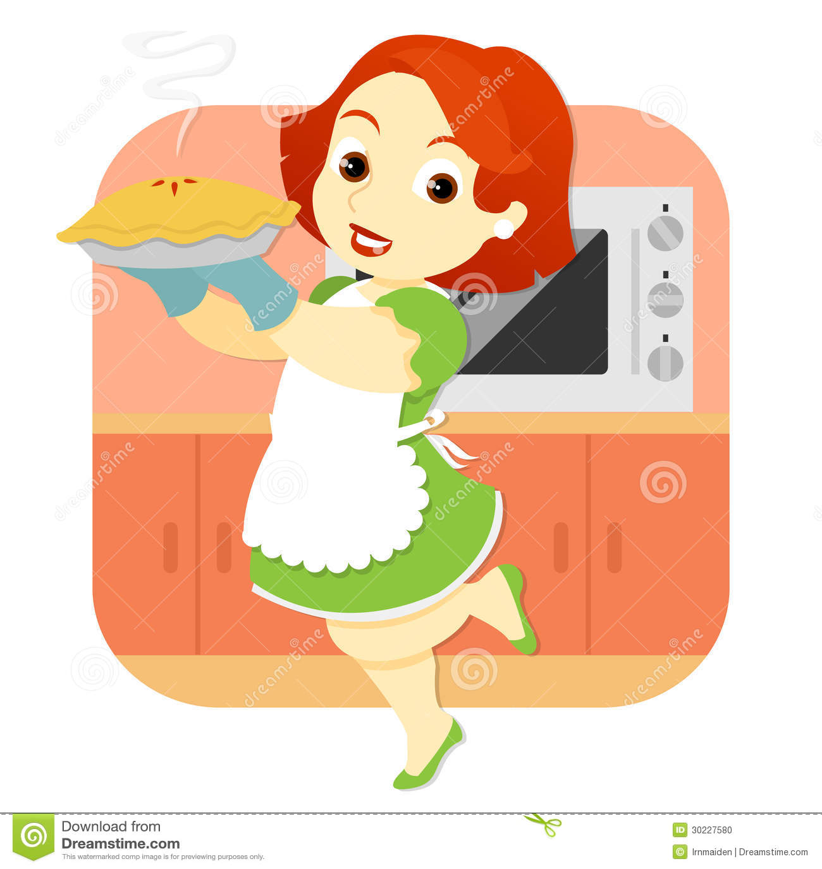 Donna in torta della tenuta della cucina