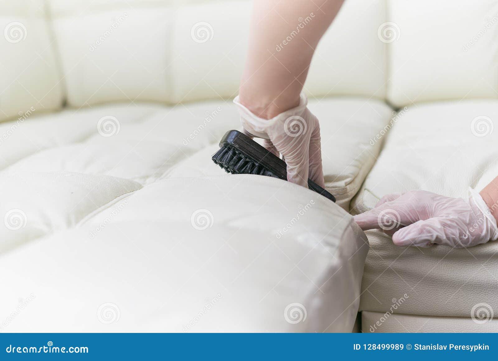 Una donna pulisce il sofà di cuoio con una spazzola e un detersivo