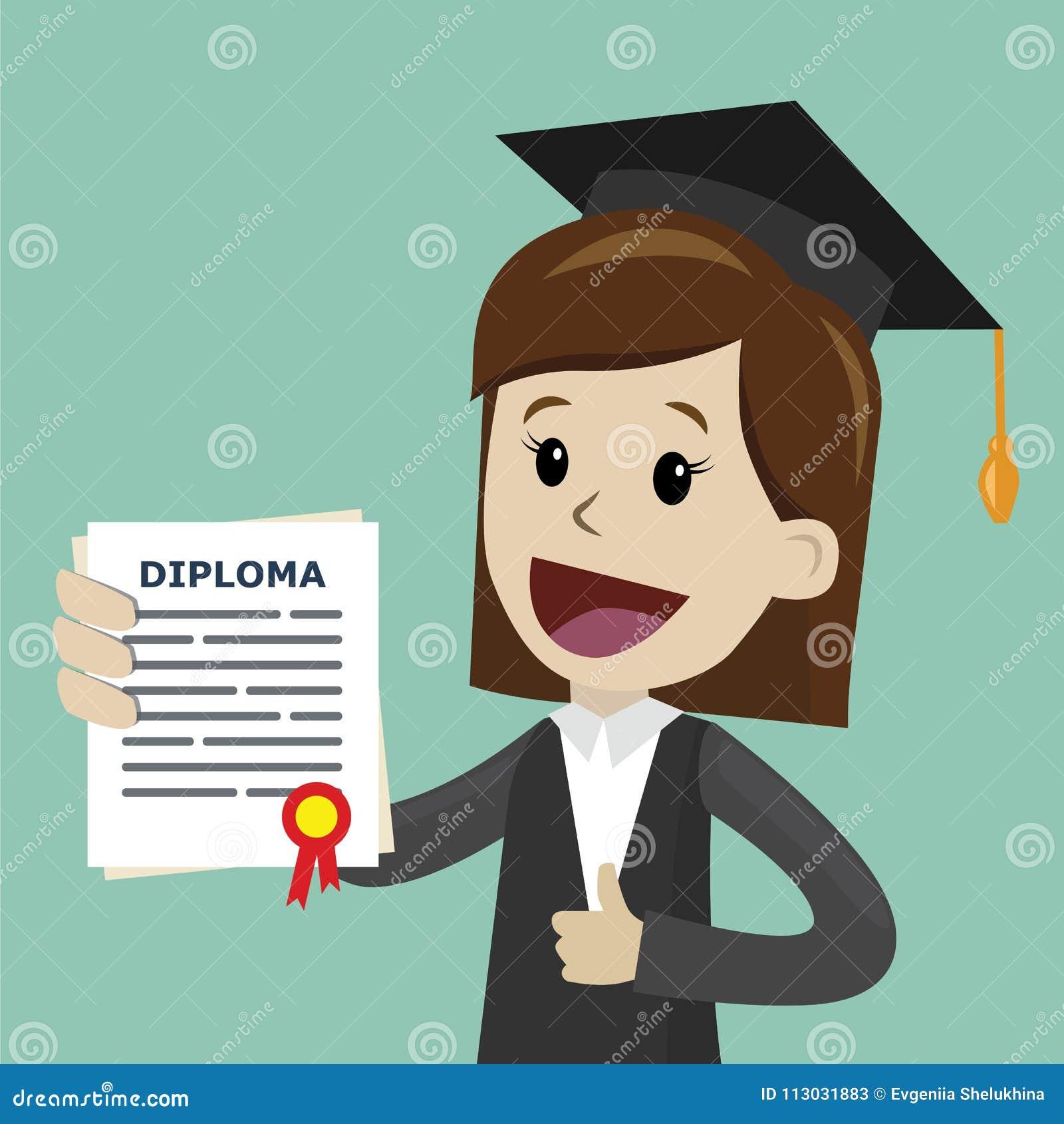 Una donna in una tenuta del vestito un certificato di laurea dell istituto universitario o scuola di commercio o diploma dell uni