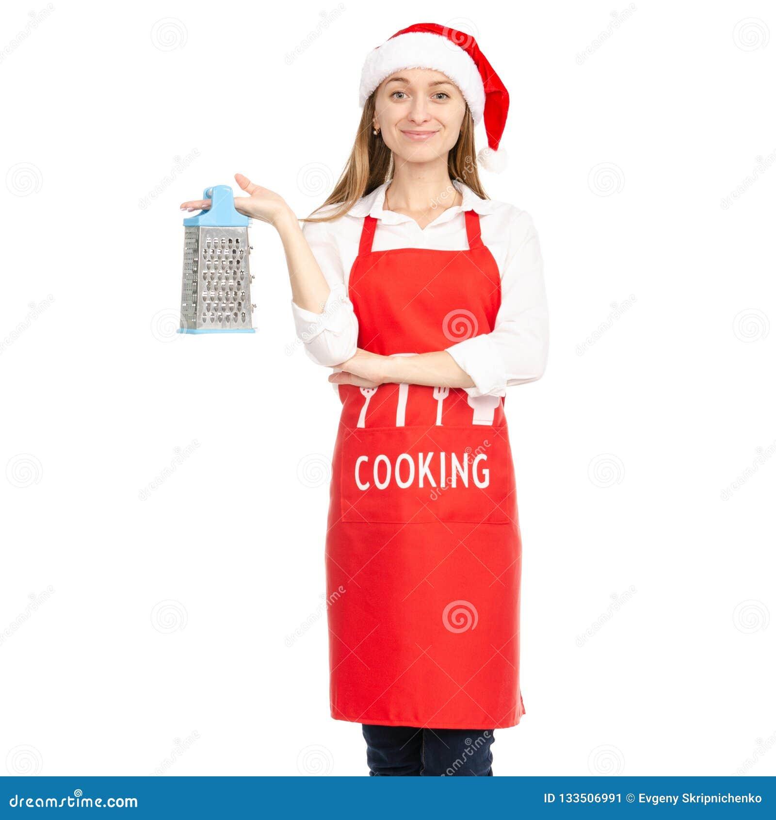 Una Donna In Un Cappello Rosso Di Santa Del Grembiule ...