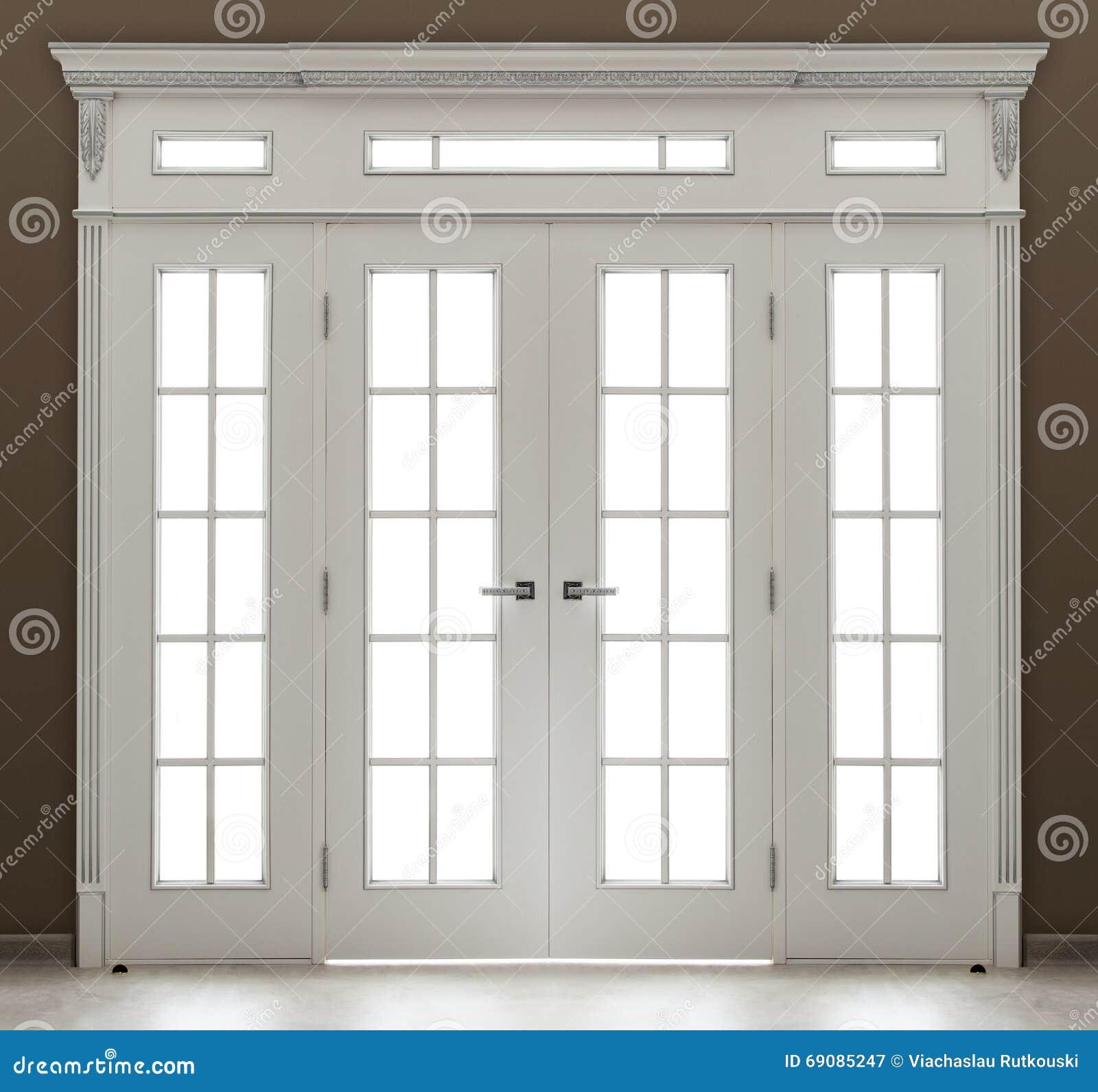 Una Doppia Porta Decorata Bianca Con Vetro
