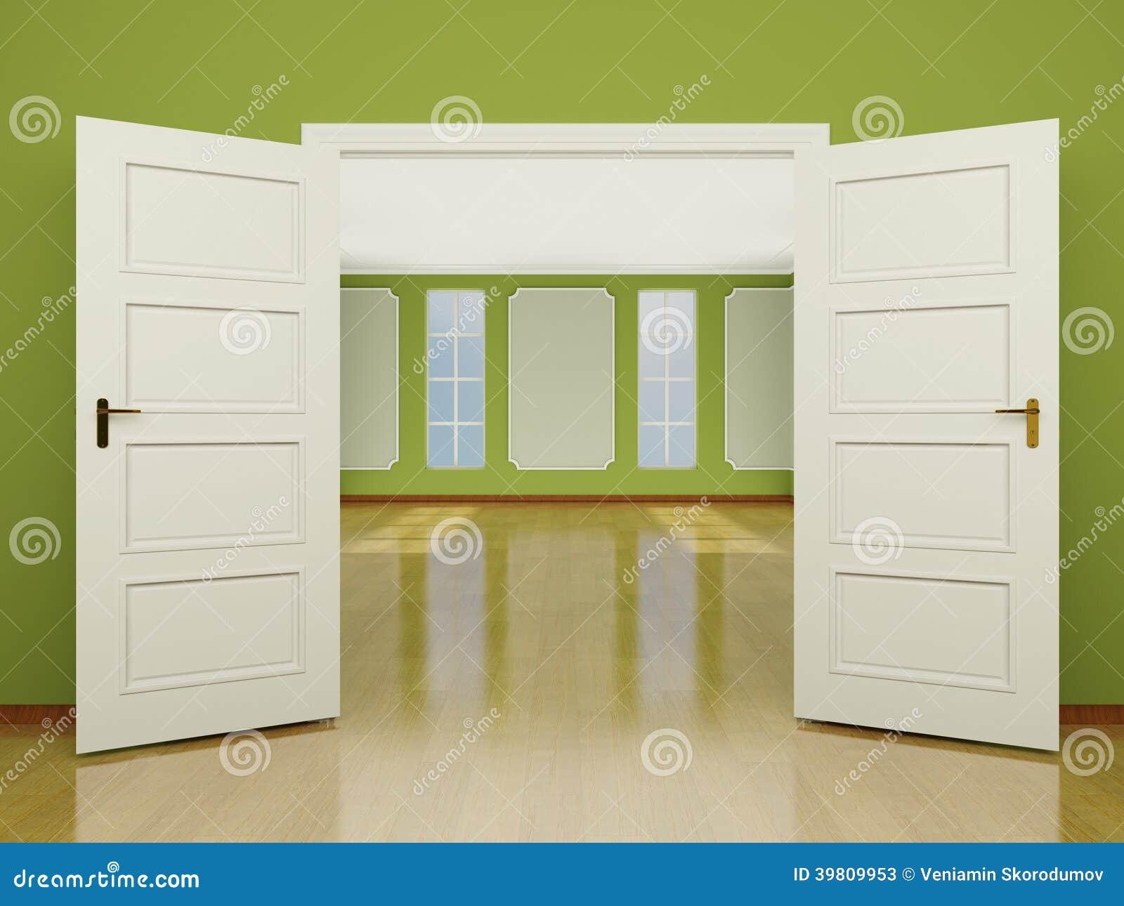 una entrada abierta de par en par de la puerta a la sala
