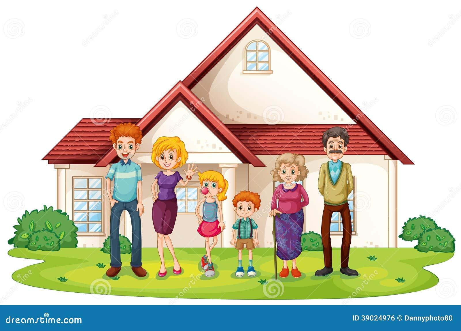 Una familia delante de su casa grande ilustraci n del for Para su casa