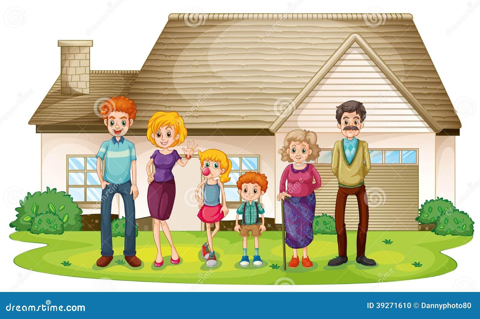 Una familia fuera de su casa grande ilustraci n del vector for Para su casa