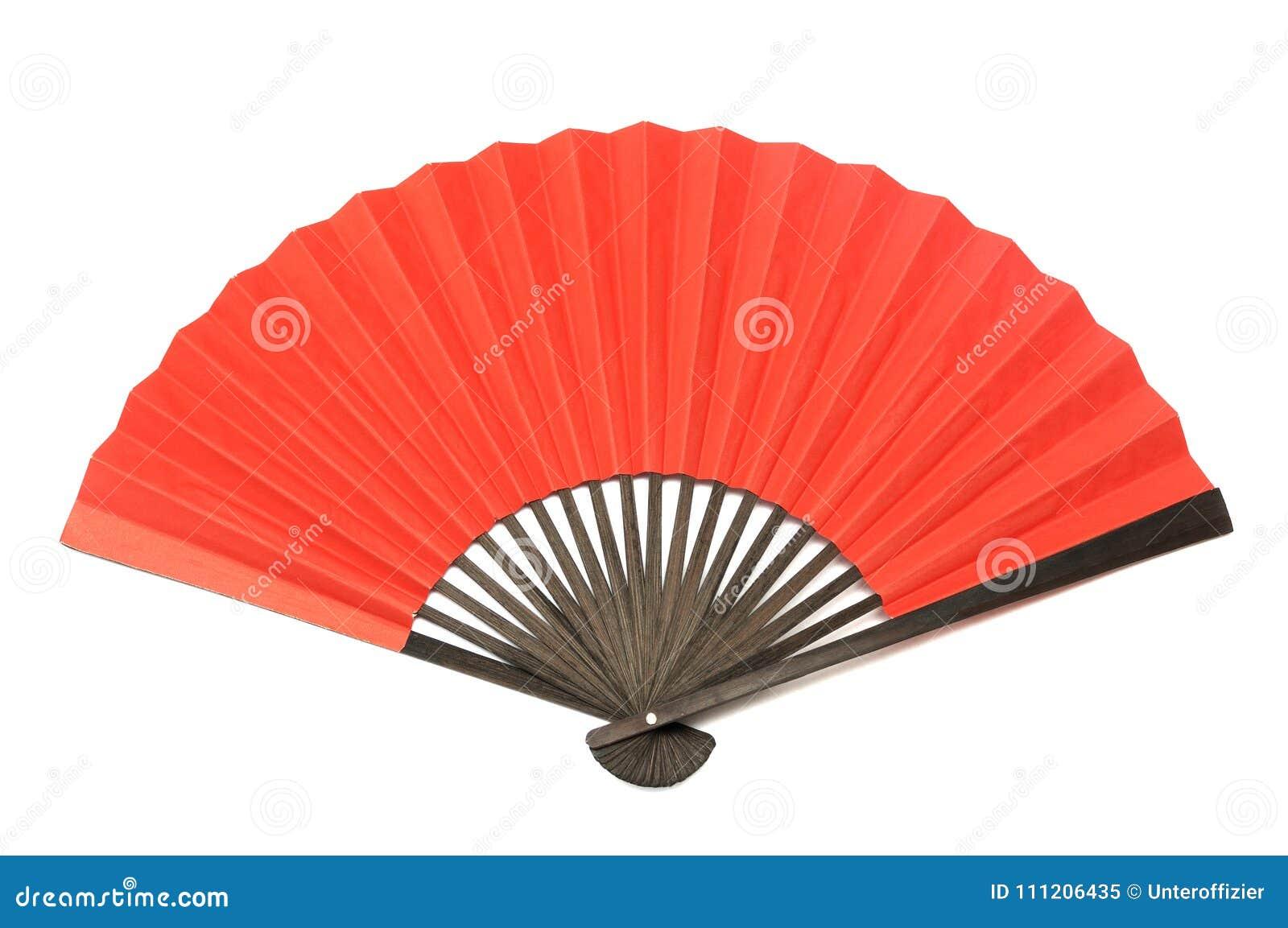 Una fan plegable roja de la mano hecha de la madera y del papel