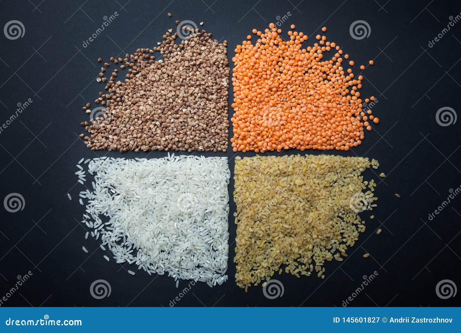 Una figura redonda de cereales dietéticos y vegetarianos: lentejas, arroz, bulgur y alforfón