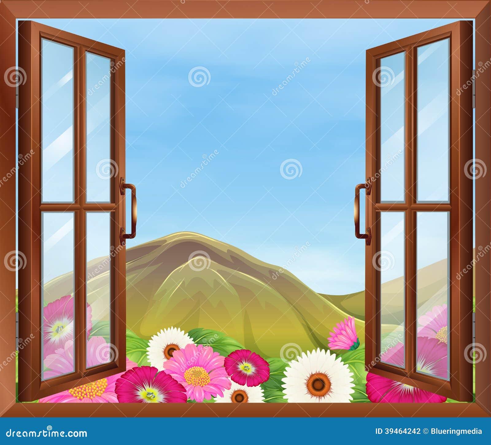 Open Window Clipart Clipart Suggest: Una Finestra Aperta Con I Fiori Fuori Illustrazione