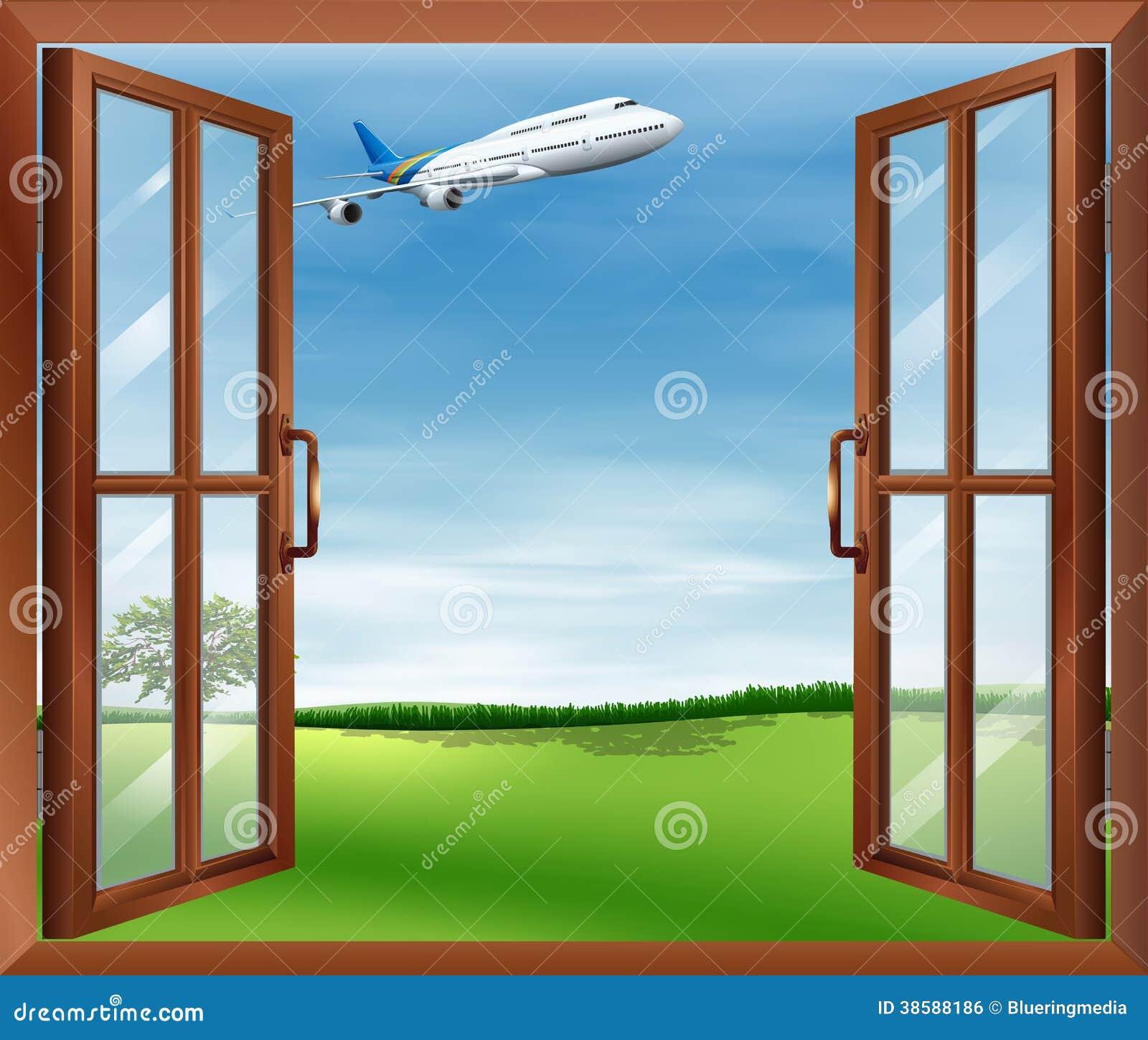 Una finestra aperta con una vista dell 39 aereo illustrazione for Disegno di finestra aperta