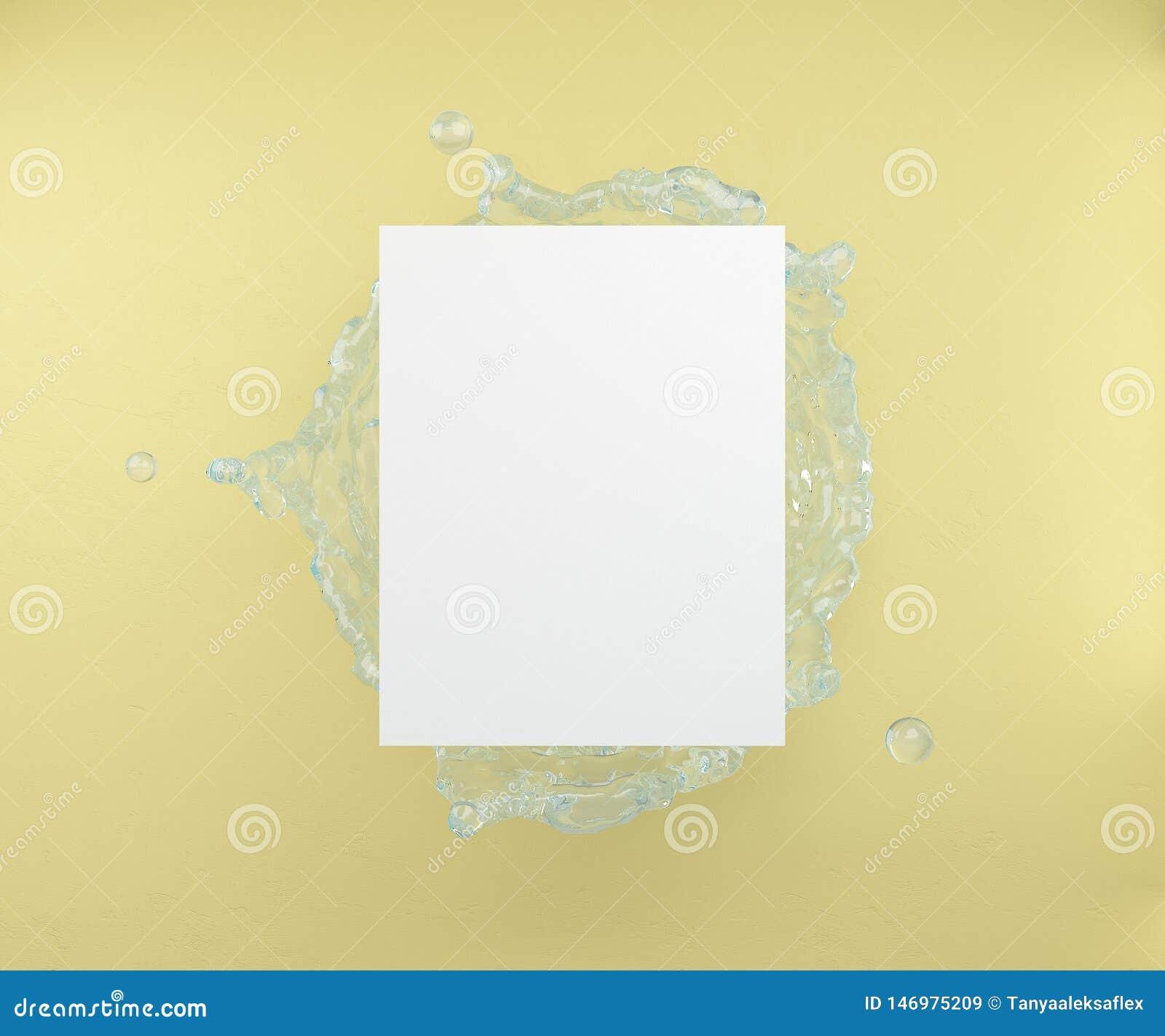 Una foglia vuota su un fondo dell acqua spruzza e una parete gialla rappresentazione 3d