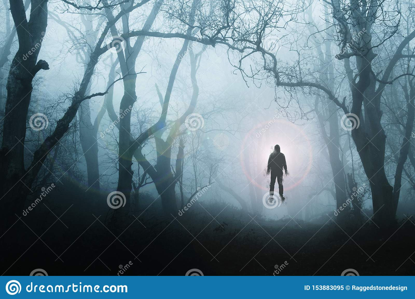 Una foresta spettrale e sinistra nell inverno, con un uomo che galleggia contro una luce intensa, con gli alberi profilati da neb