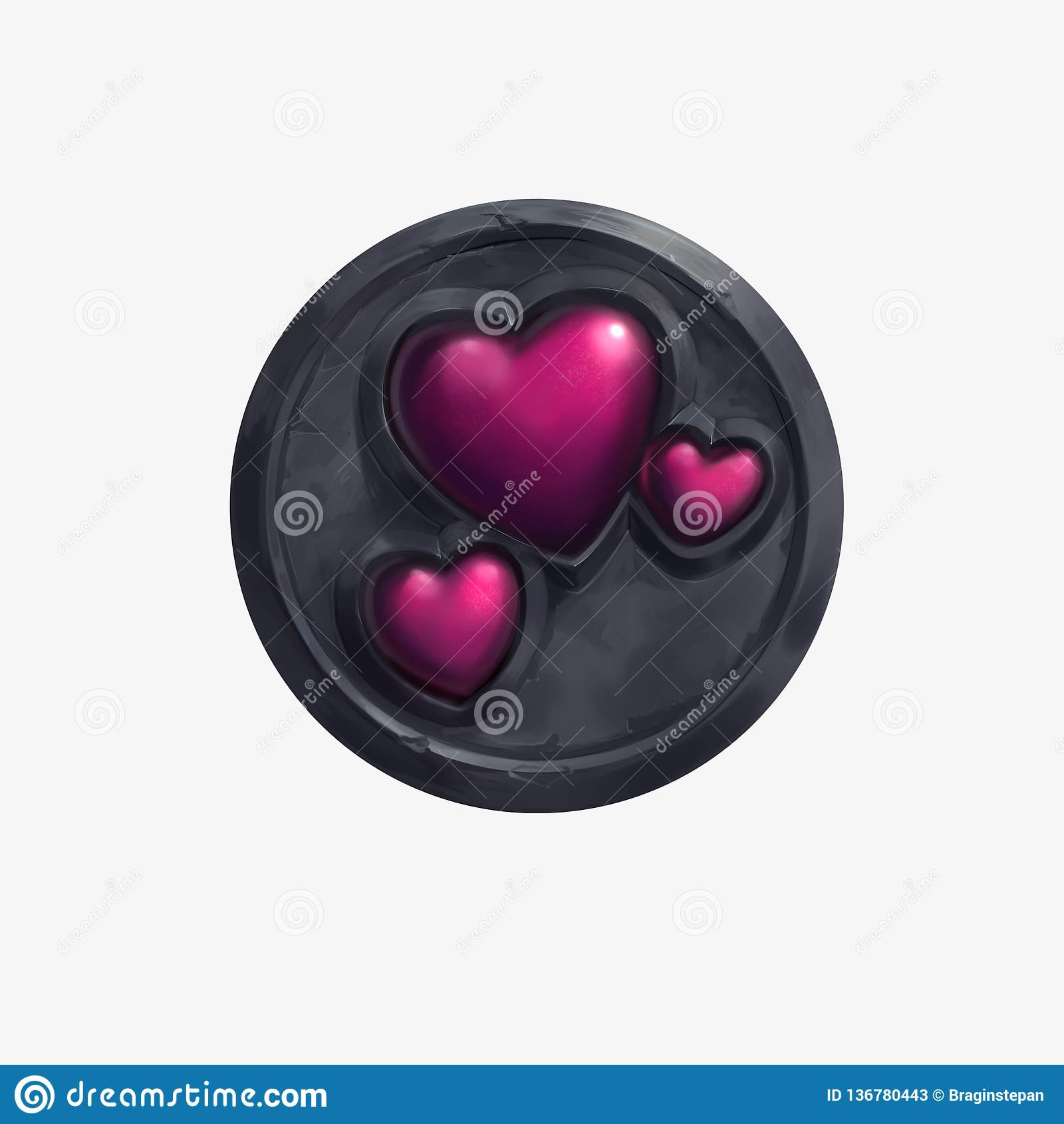 Una forma e una pietra riflettenti rosse del cuore su fondo bianco isolato