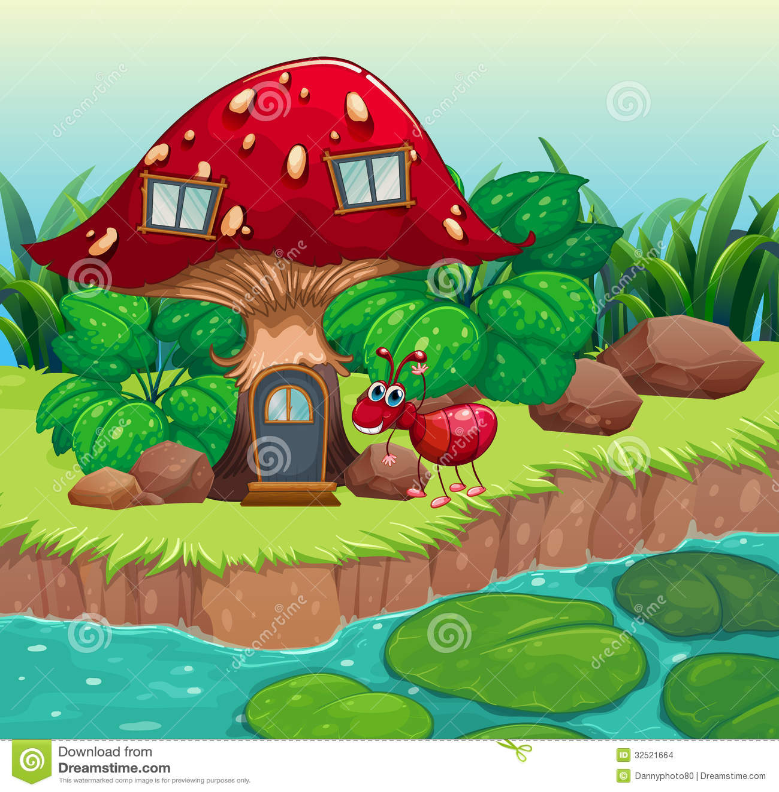 Una Formica Vicino Alla Casa Rossa Del Fungo Illustrazione ...