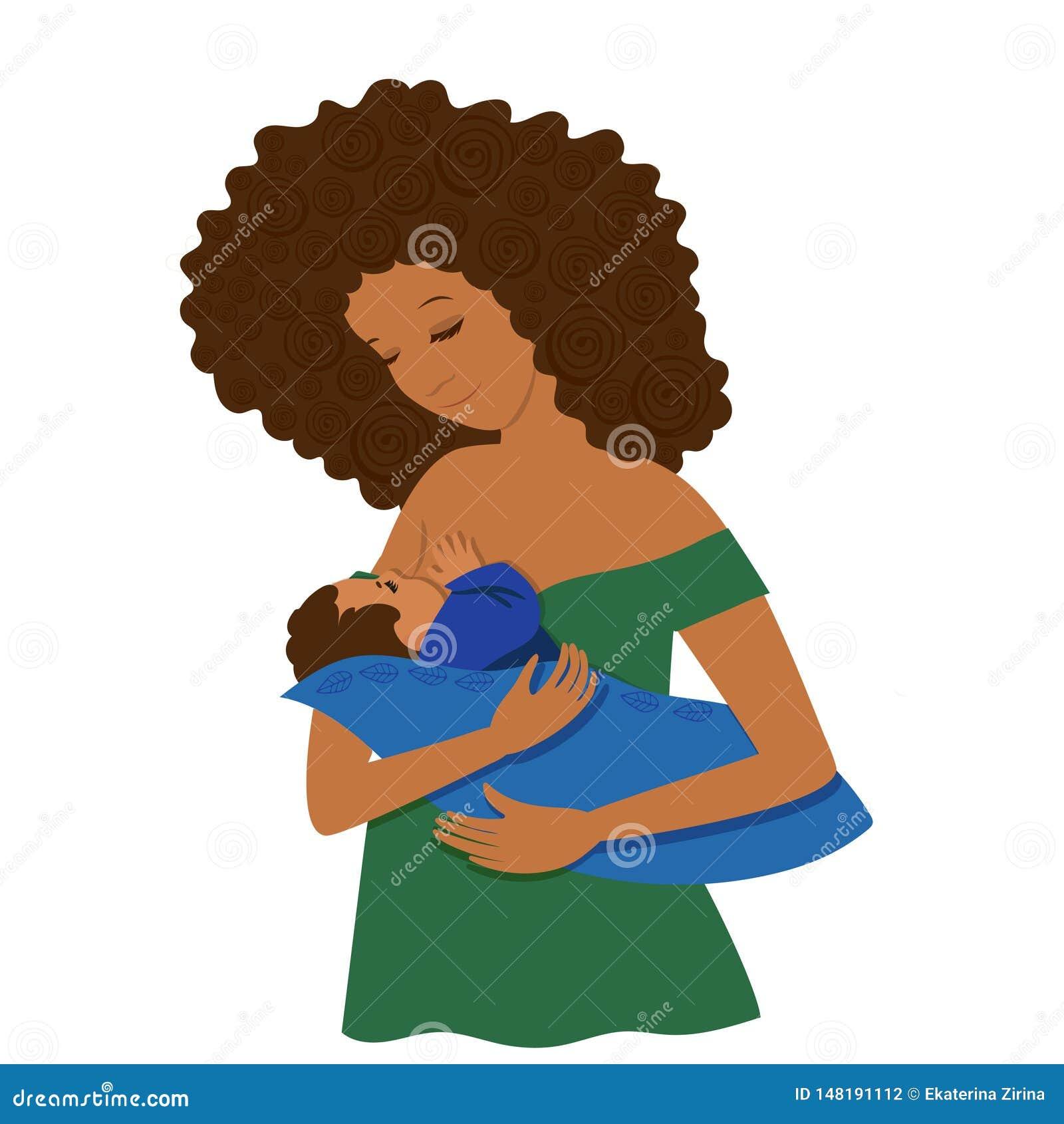 Una giovane donna dalla carnagione scura alimenta il suo bambino Isolato su priorit? bassa bianca Clip art