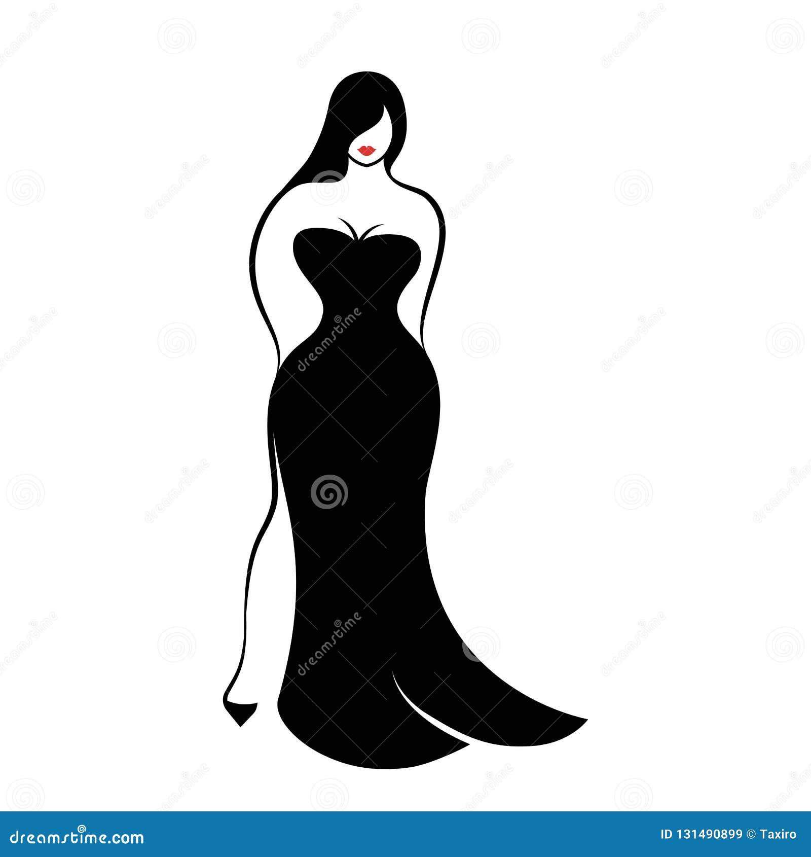 4265c1a44111 Una giovane donna a figura intera in un vestito da sera nero del  forma-montaggio lungo elegante su fondo bianco Illustrazione di vettore