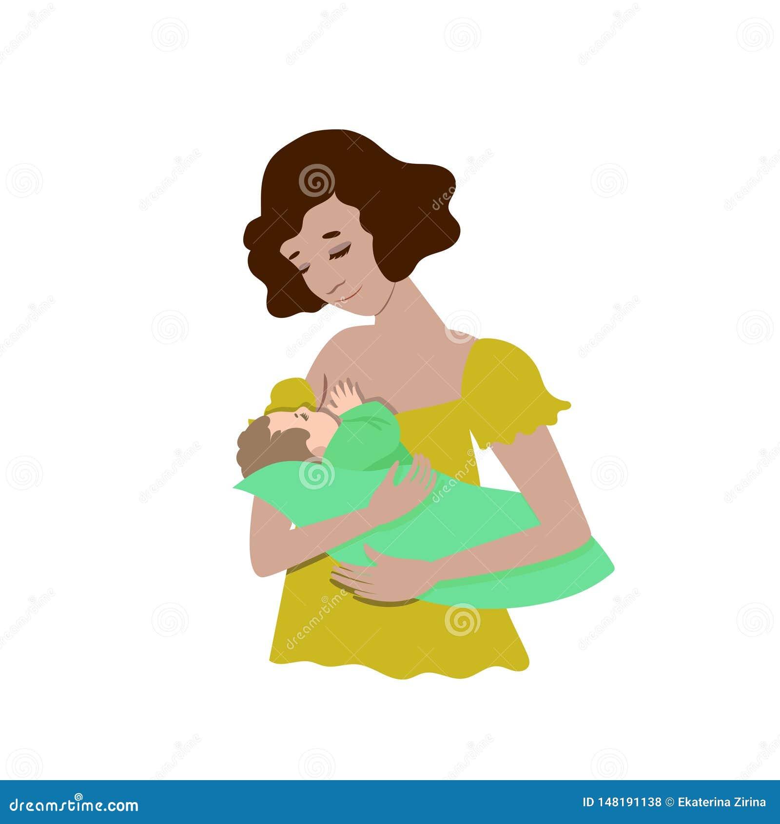 Una giovane madre sta allattando al seno il suo bambino Isolato su fondo bianco Clip art