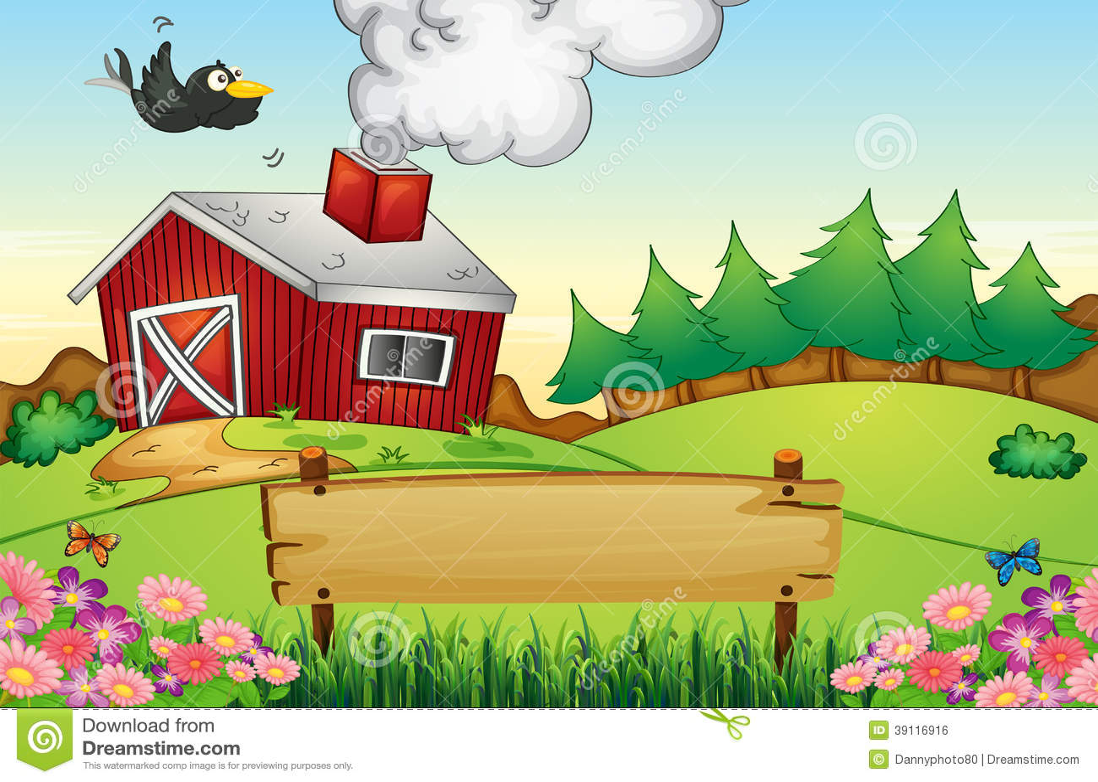 Una granja con un letrero vac o ilustraci n del vector ilustraci n de ngulo historieta 39116916 - Casa rural la granja ...