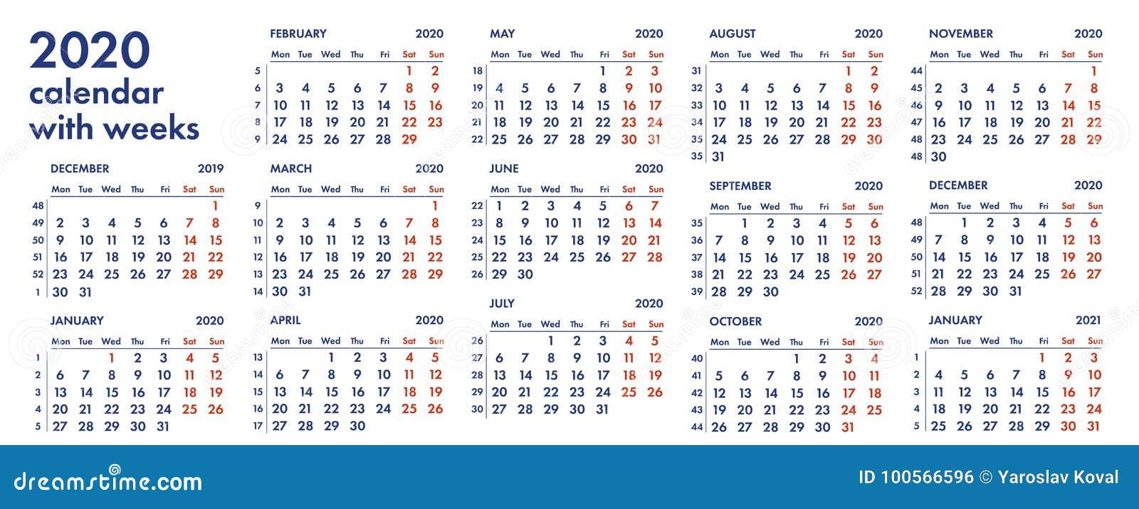 Calendario Trimestrale 2020.Una Griglia Di 2020 Calendari Con L Illustrazione Di