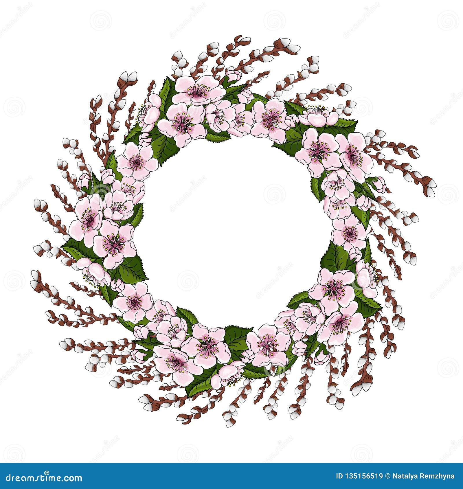 Una guirnalda de flores de cerezo rosadas y de hojas verdes claras junto con ramas jovenes del sauce en un fondo blanco Ronda nat