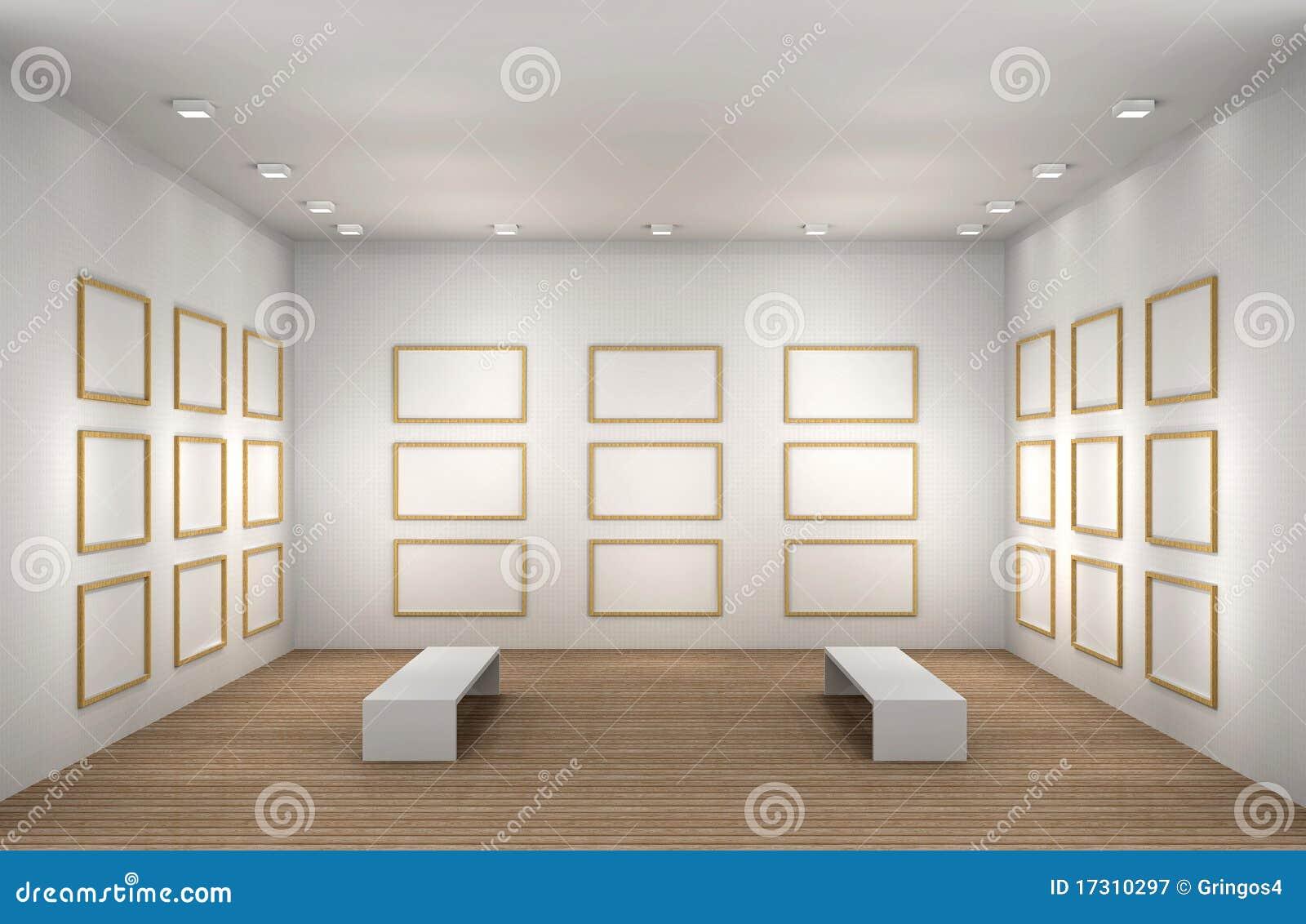 Una Ilustración De Un Cuarto Vacío Del Museo Con Los Marcos Stock de ...