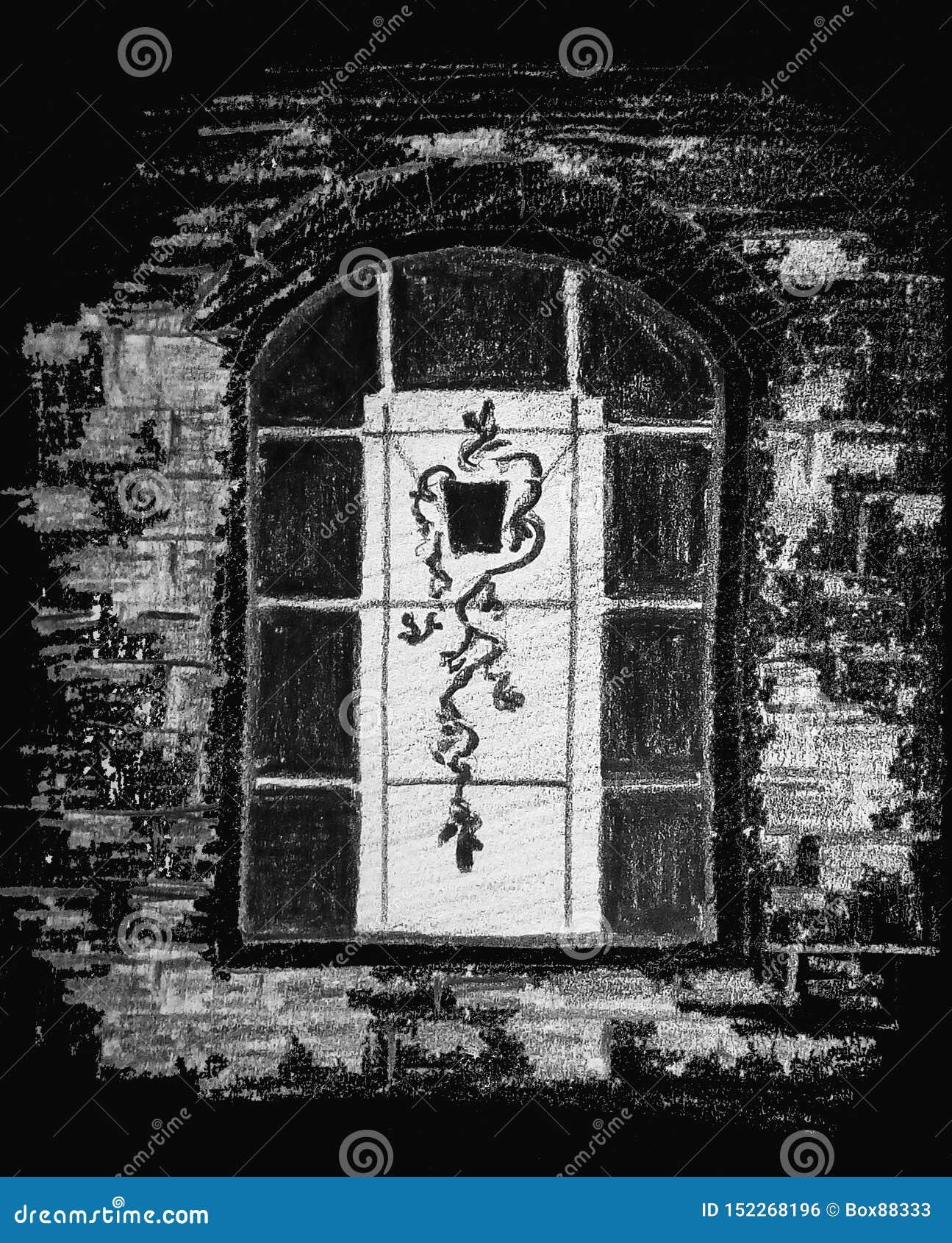 Una imagen abstracta áspera de una ventana con una flor en un pote Gr?fico de l?piz