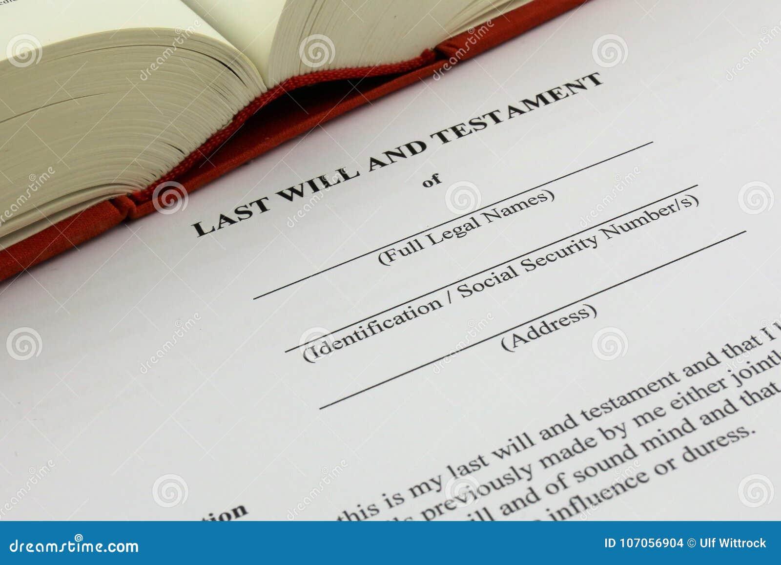 Una imagen del concepto de un último y testamento