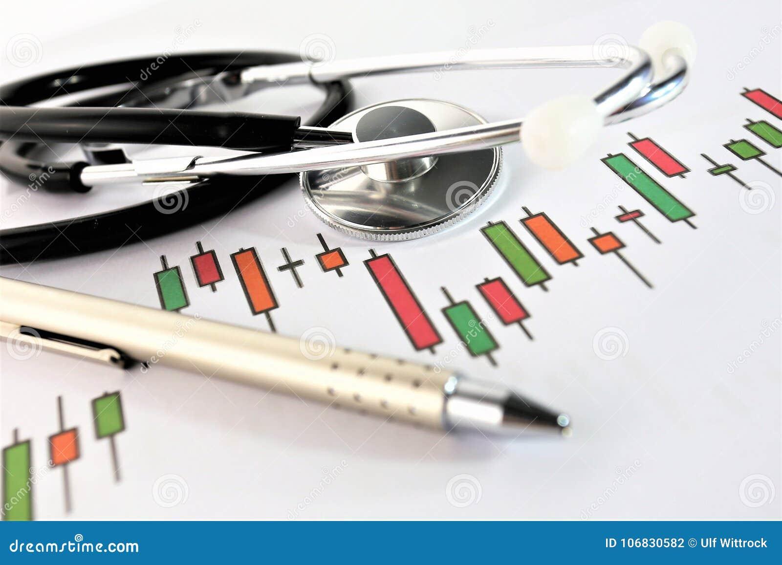 Una imagen del concepto de un tablero médico con las diversos cartas y escenario