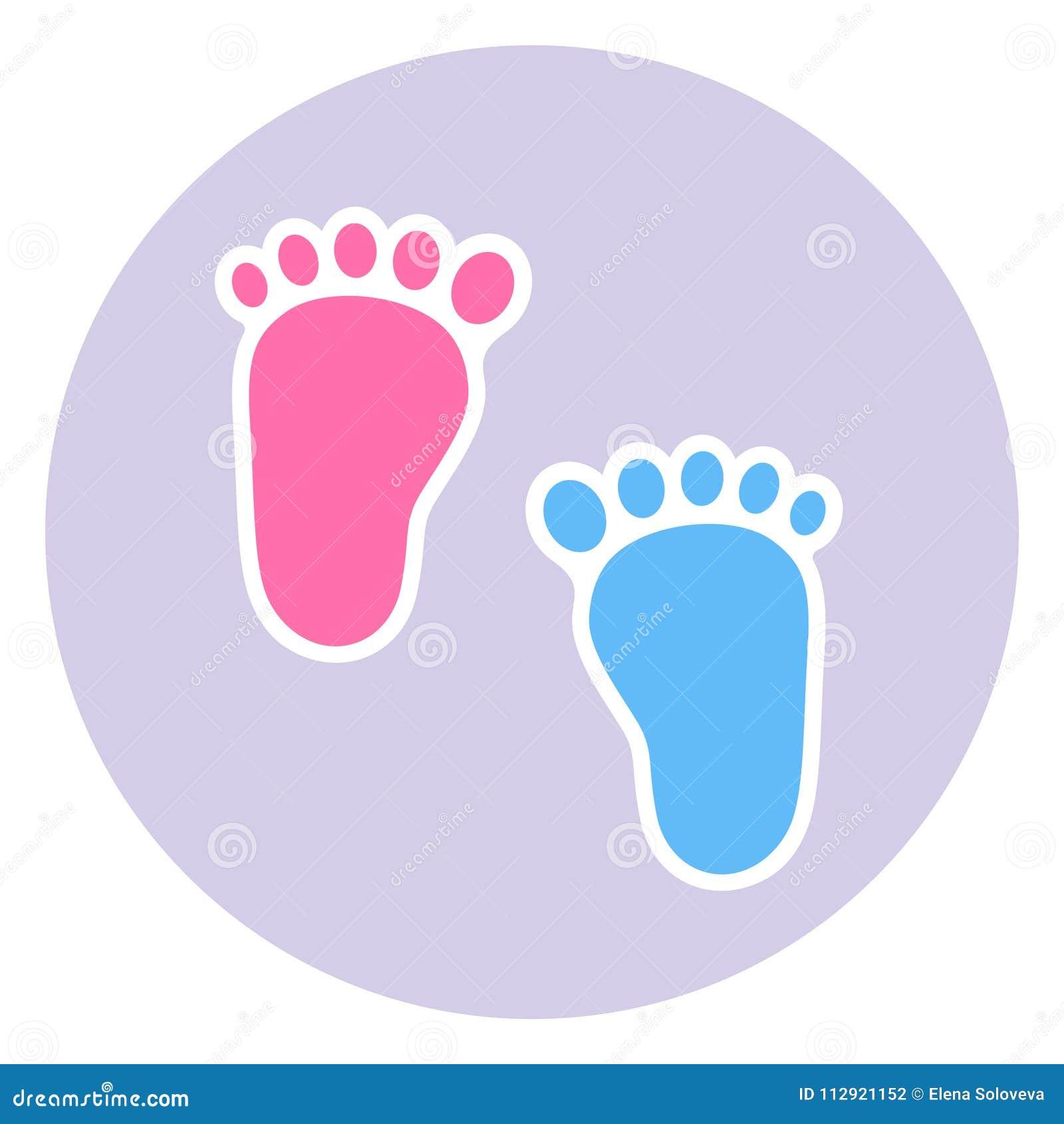 Una insignia de la huella del niño Huellas bebé y muchacho gemelos del bebé