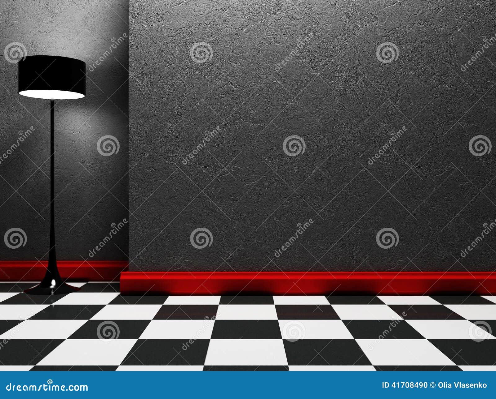 Una lámpara se está colocando en el cuarto vacío
