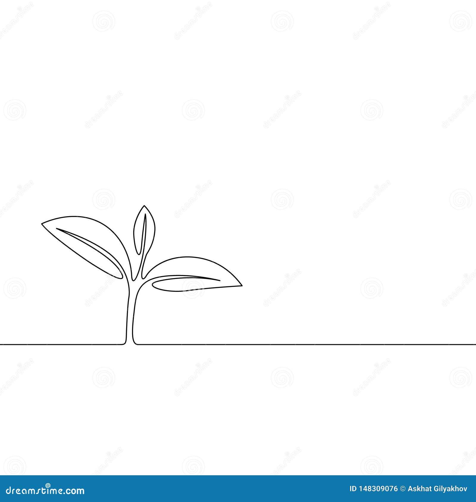 Una línea continua brote creciente, hojas de la planta Concepto de la ecolog?a