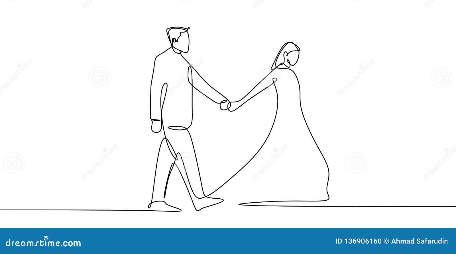 Una línea continua dibujo del arte de los pares que llevan a cabo estilo del minimalismo del ejemplo del vector de las manos