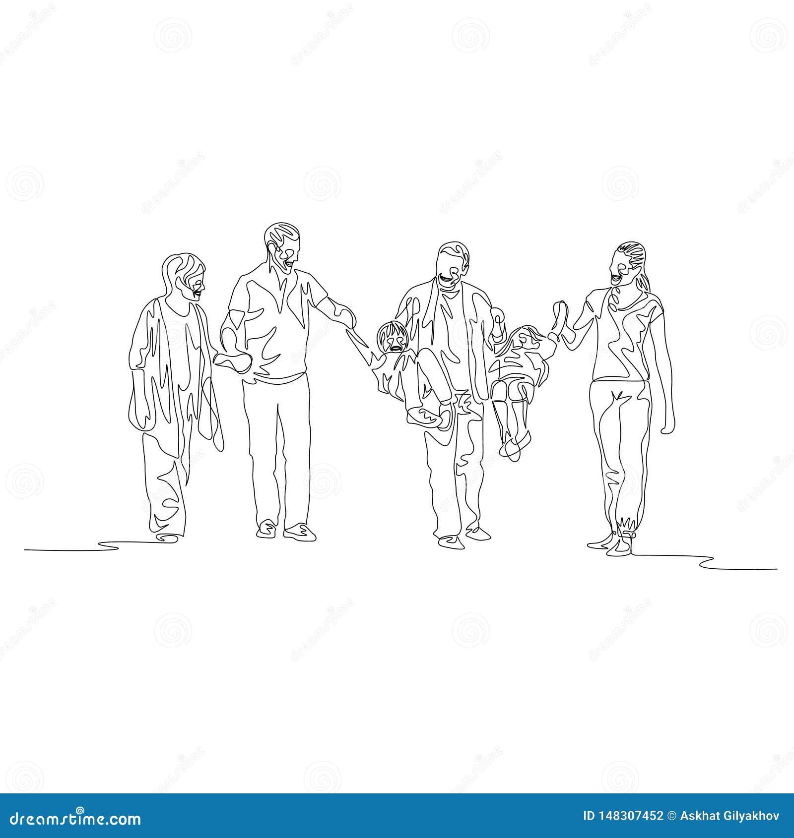 Una línea continua generación multi de la familia, padres que balancean a niños