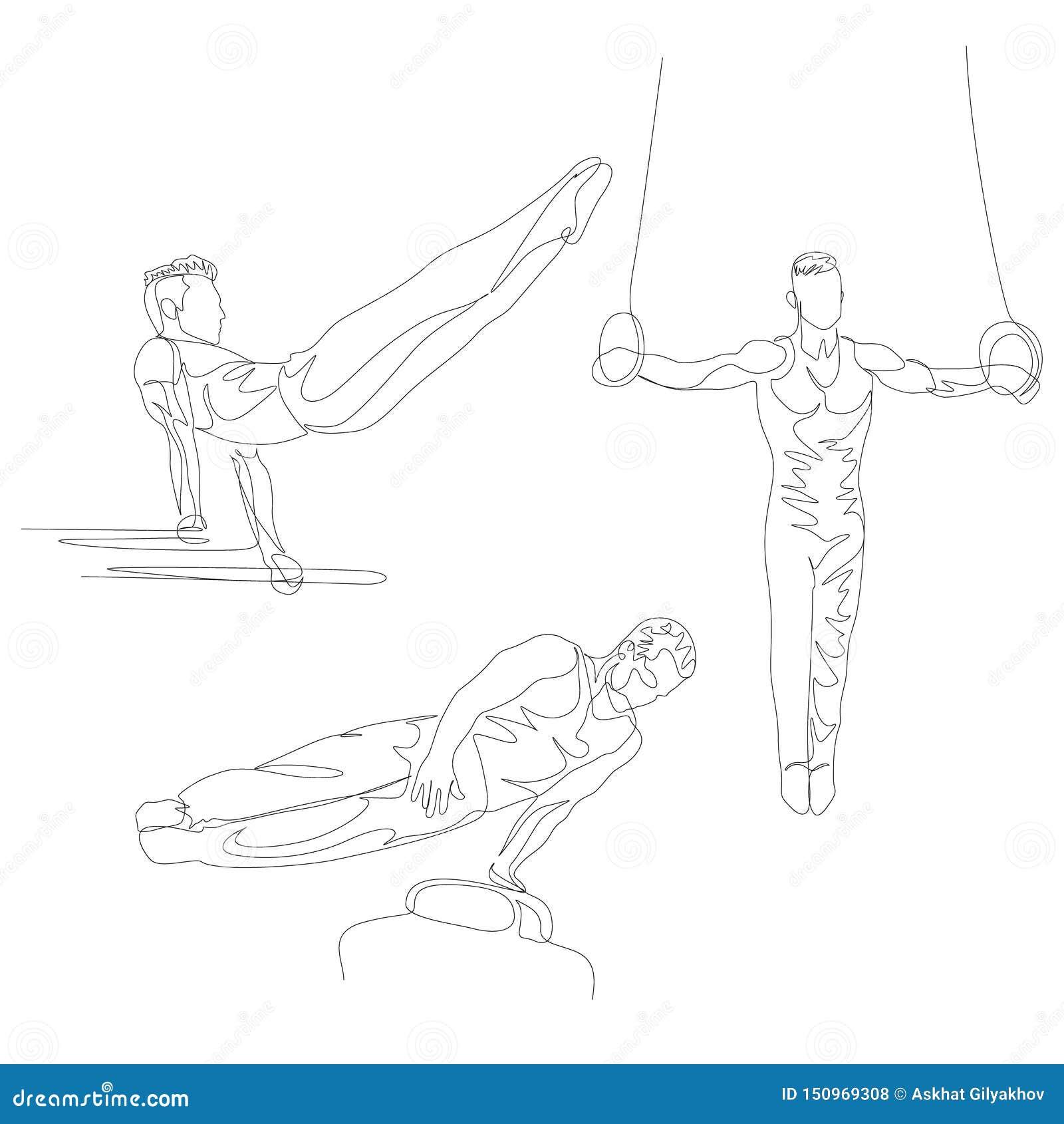 Una línea continua gimnasta que hace el diverso sistema de ejercicio Juegos Ol?mpicos del verano Vector