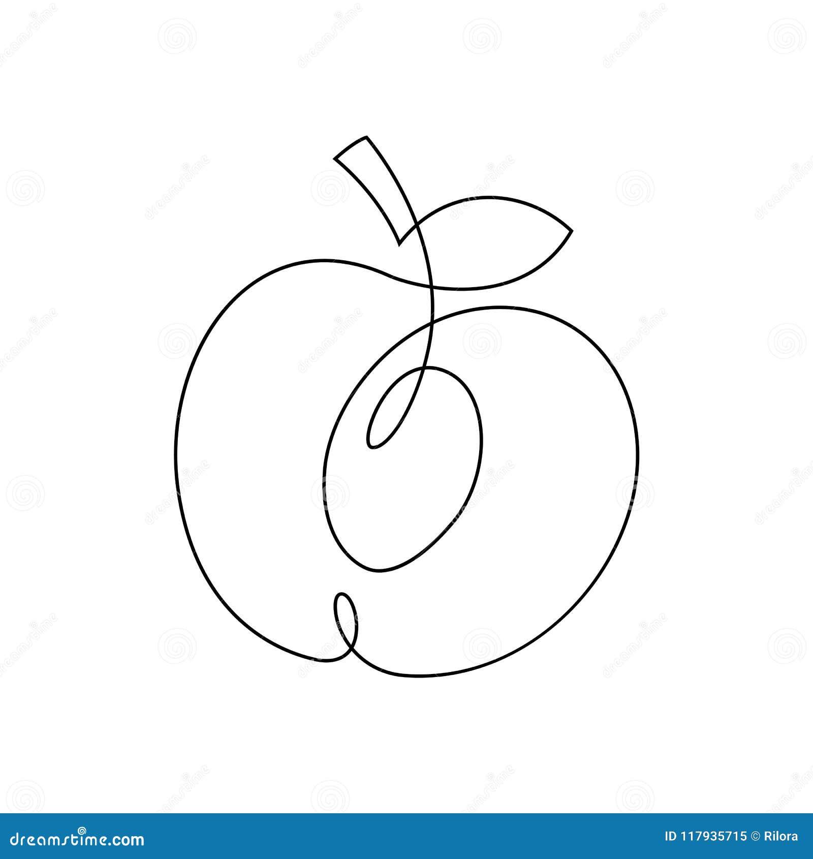 Una Línea Diseño Del Melocotón Ejemplo Dibujado Mano Del Vector Del ...