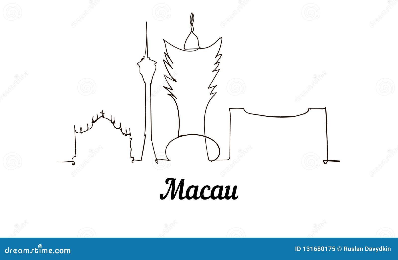 Una línea ejemplo del bosquejo de Macao del estilo