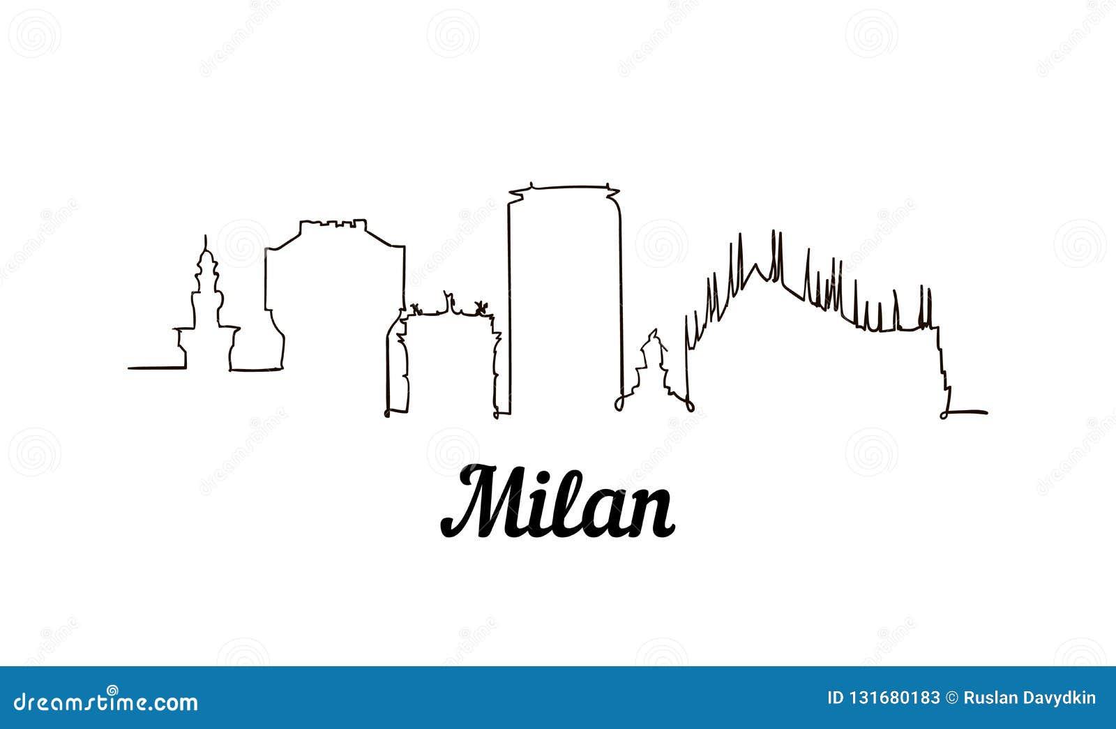 Una línea ejemplo del bosquejo de Milán del estilo